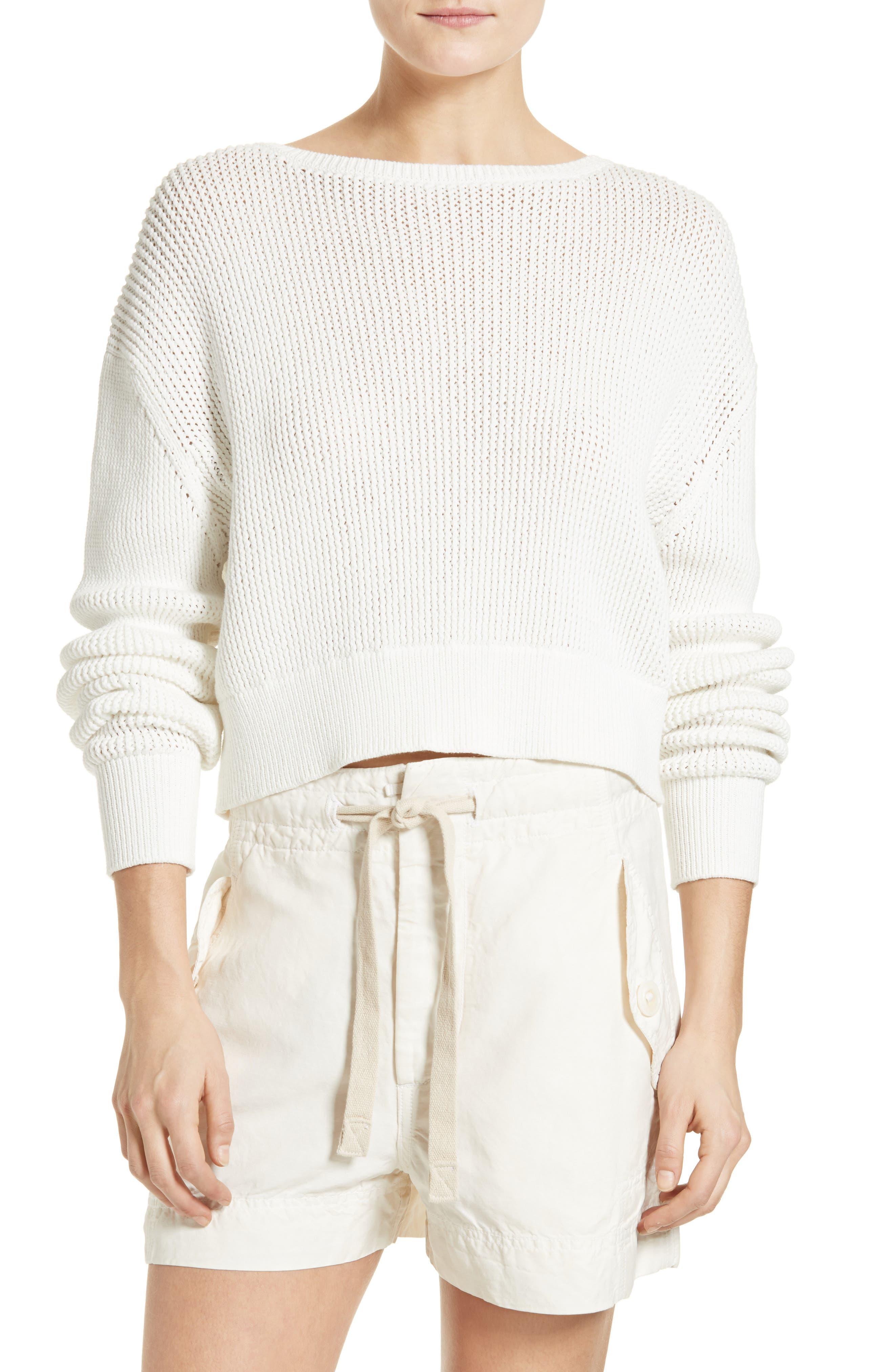 Vince Lattice Stitch Cotton Sweater