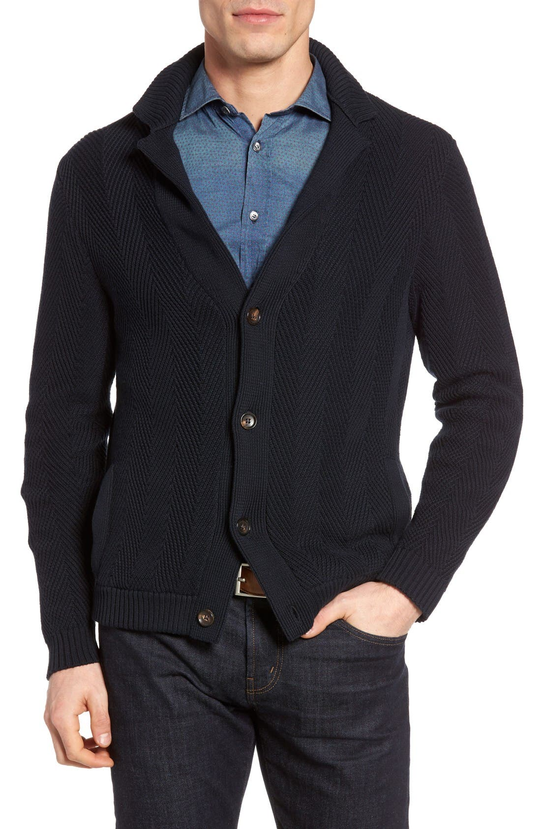 LUCIANO BARBERA Herringbone Cotton Cardigan