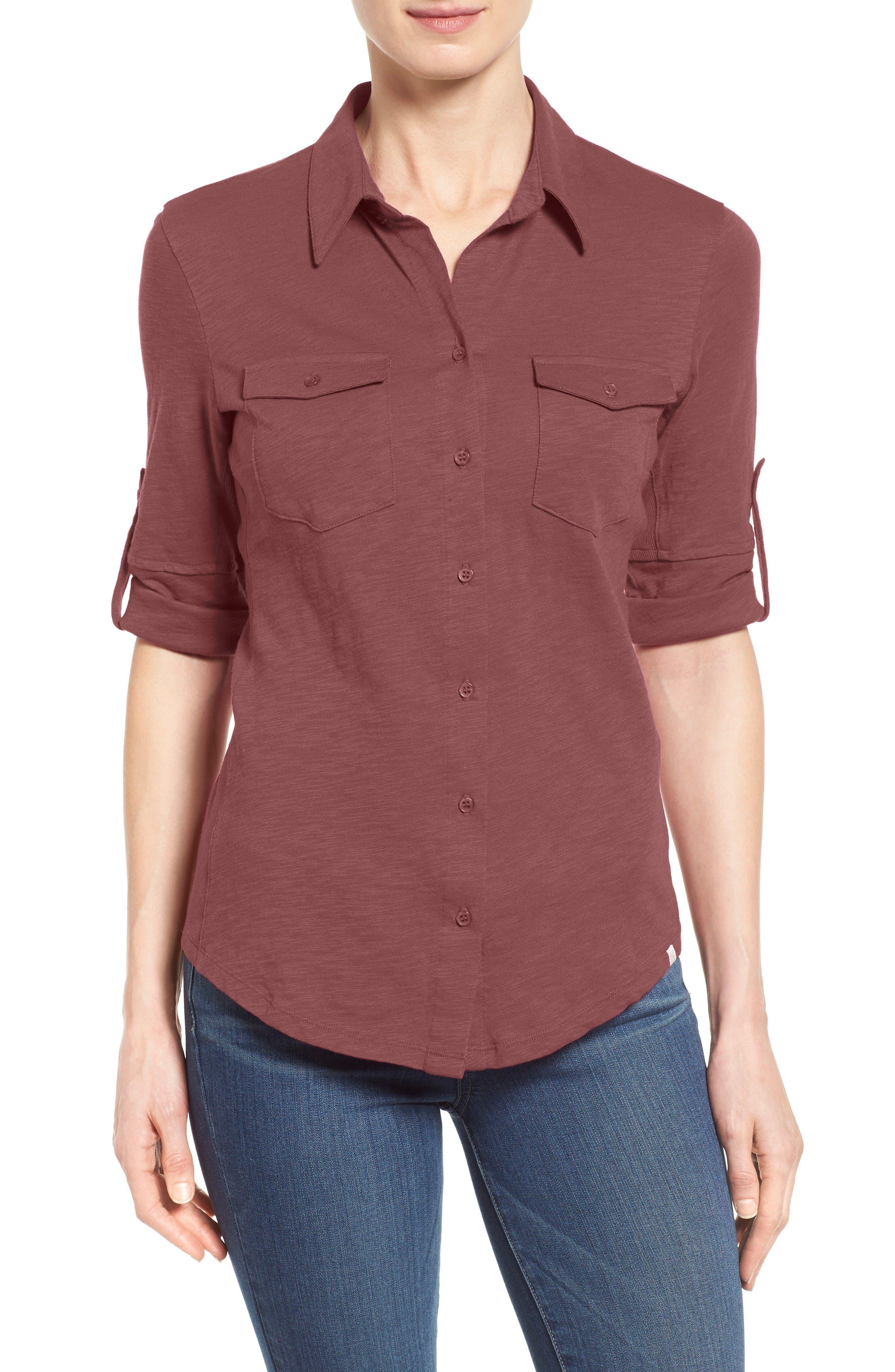 Caslon® Roll Sleeve Cotton Knit Shirt (Regular & Petite)