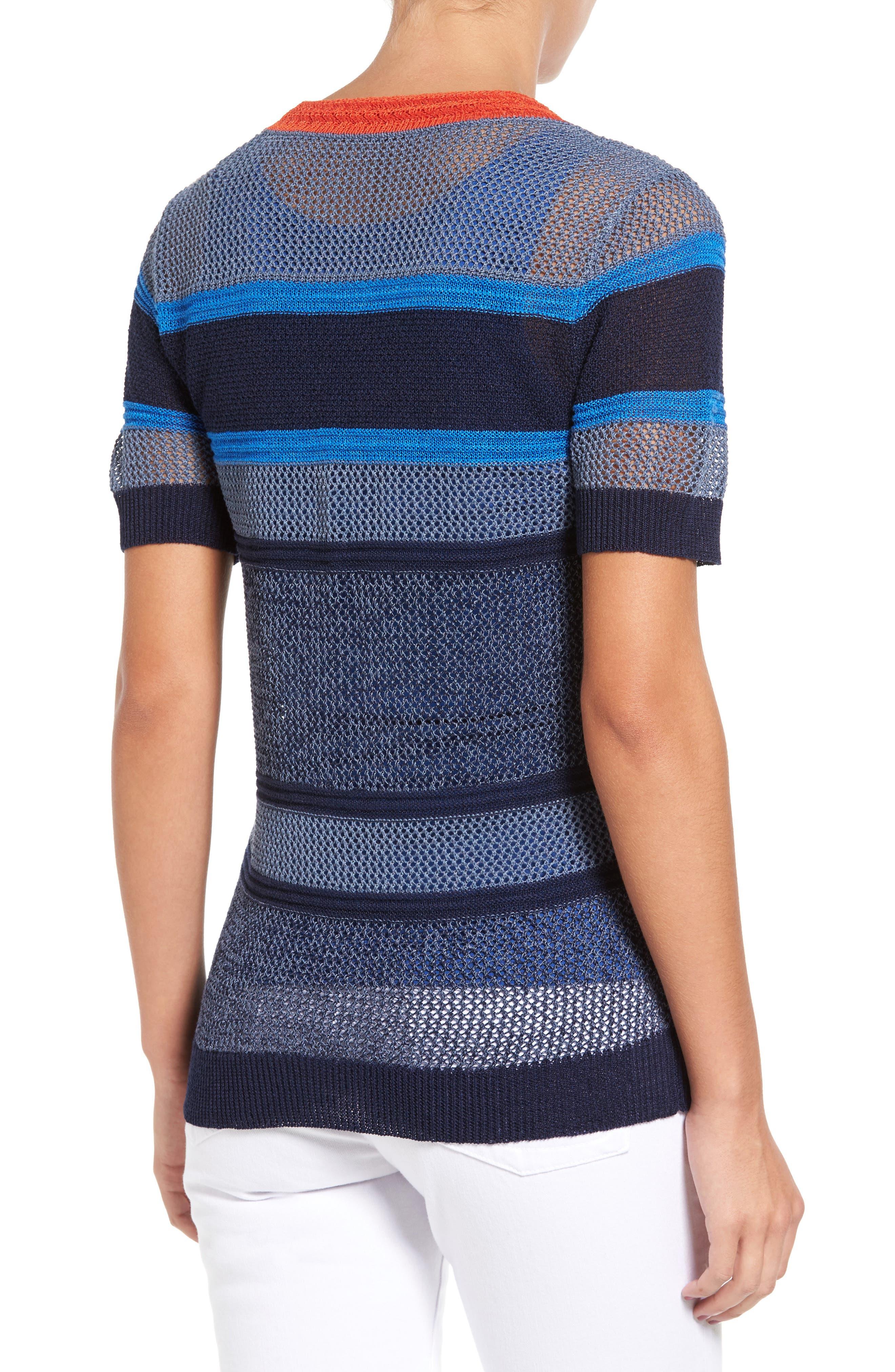 Alternate Image 2  - Halogen® Stripe Open Stitch Sweater (Regular & Petite)