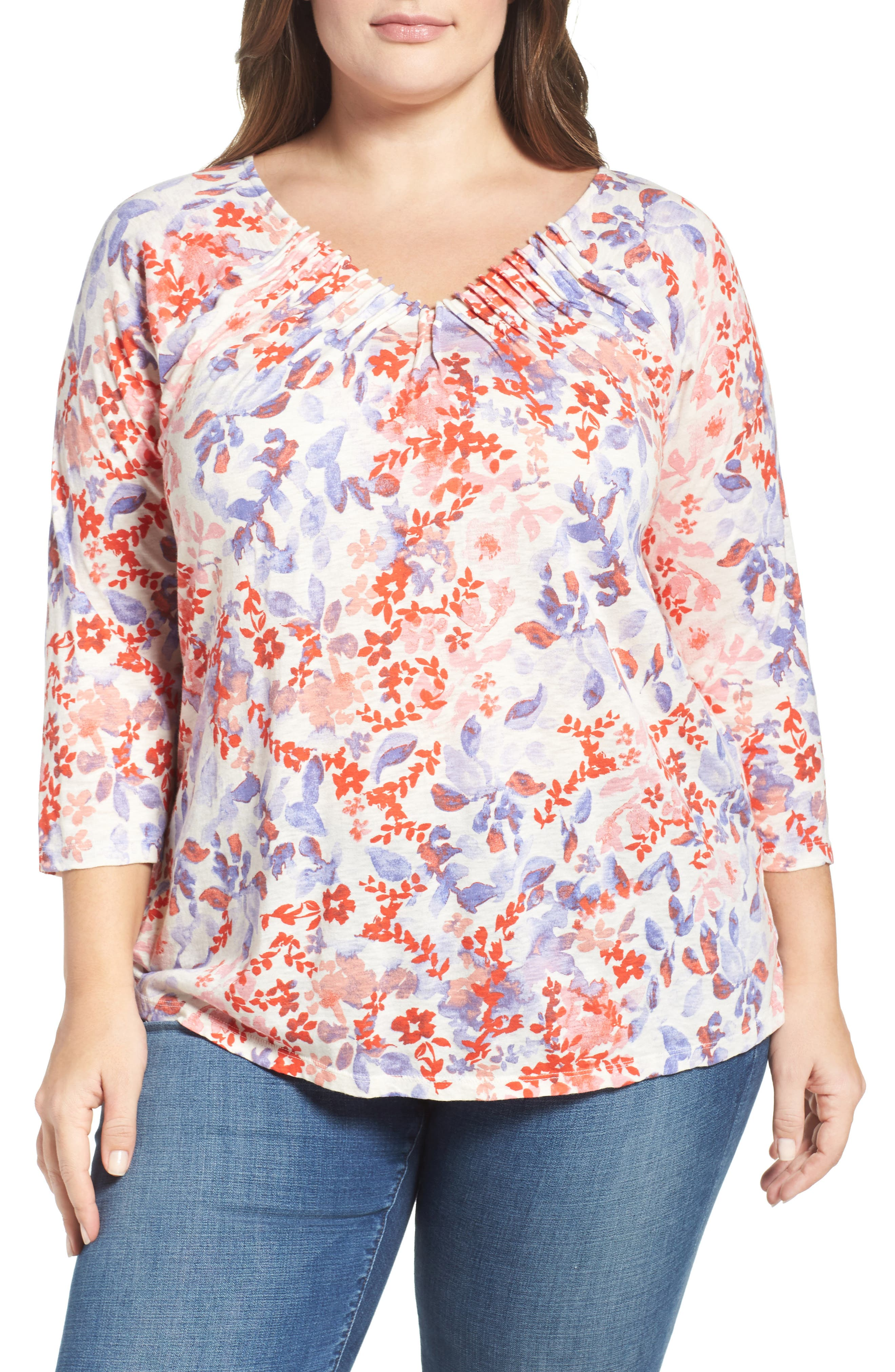 LUCKY BRAND Print Knit Pintuck Top