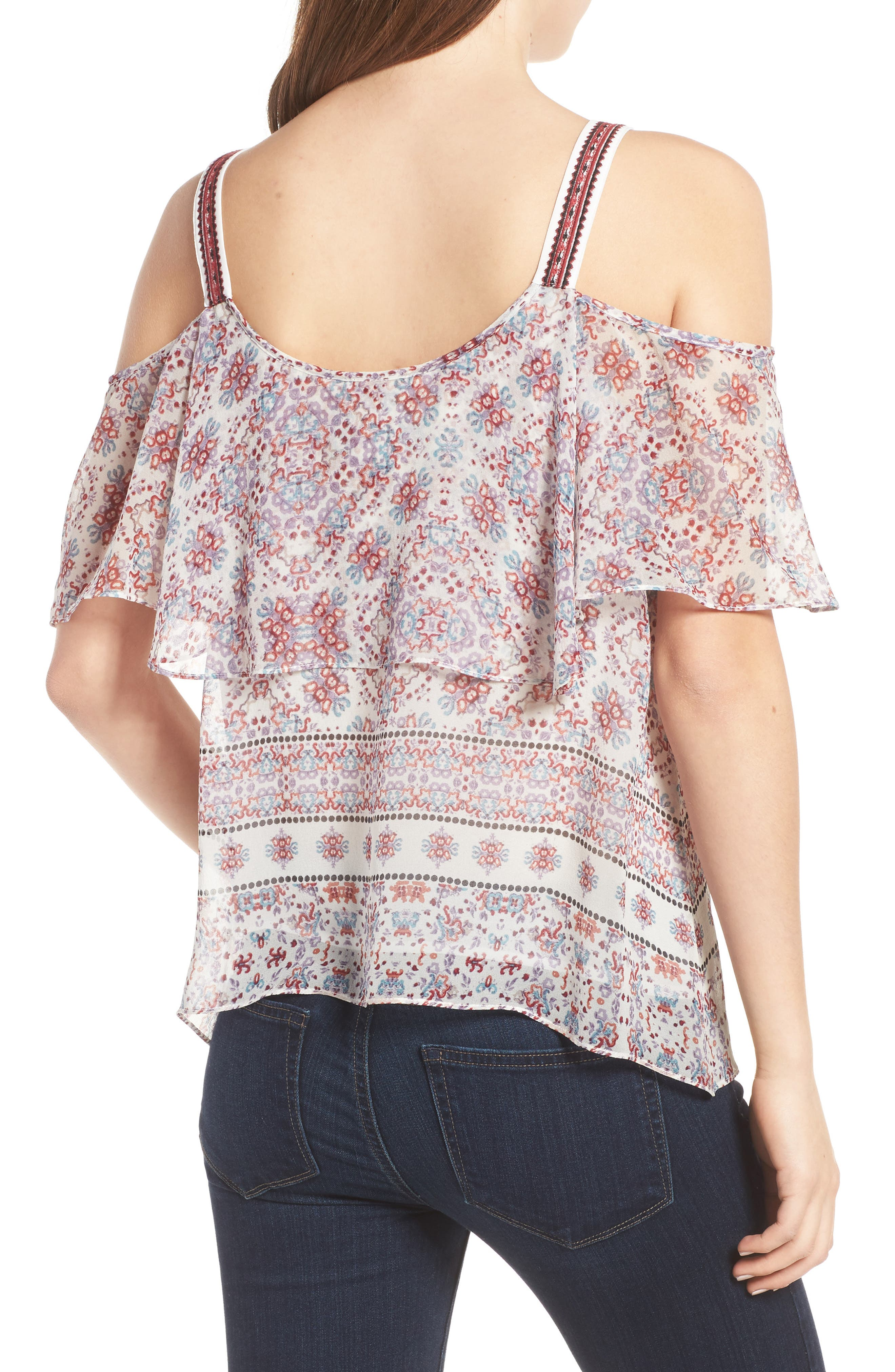 Alternate Image 2  - Ella Moss Wayfare Cold Shoulder Silk Top