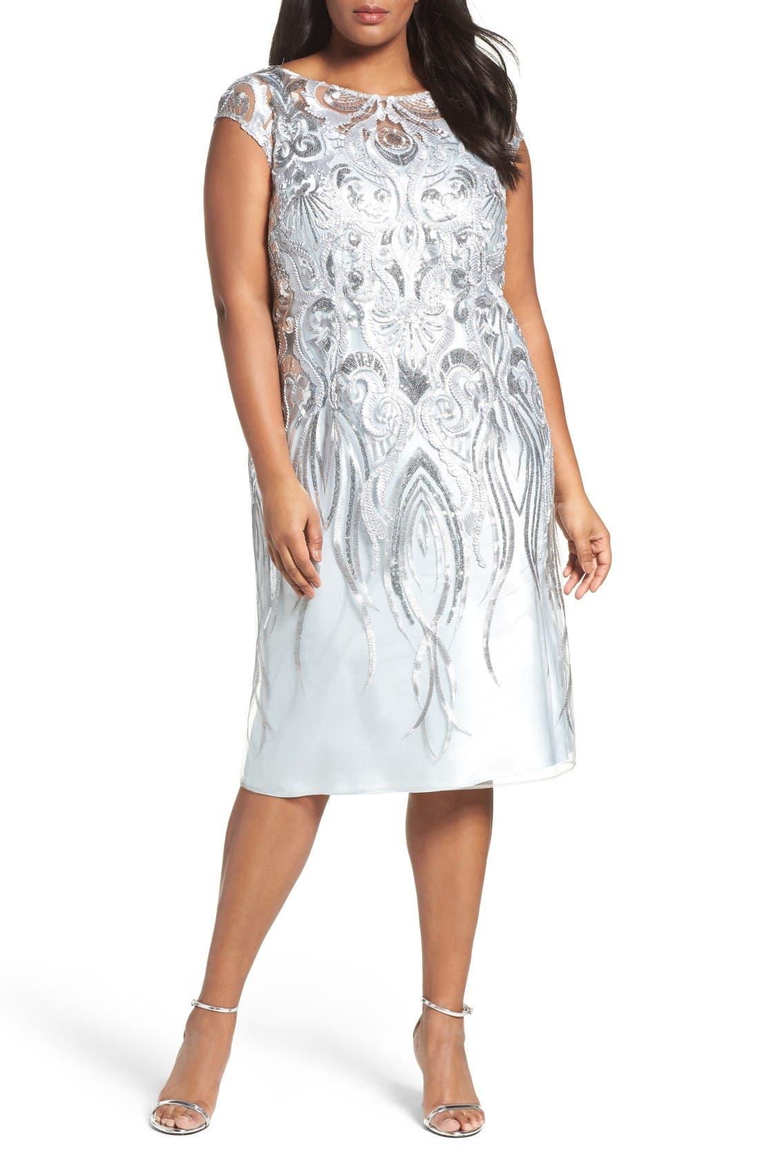 Brianna Embellished Bateau Neck Cocktail Dress (Plus Size)