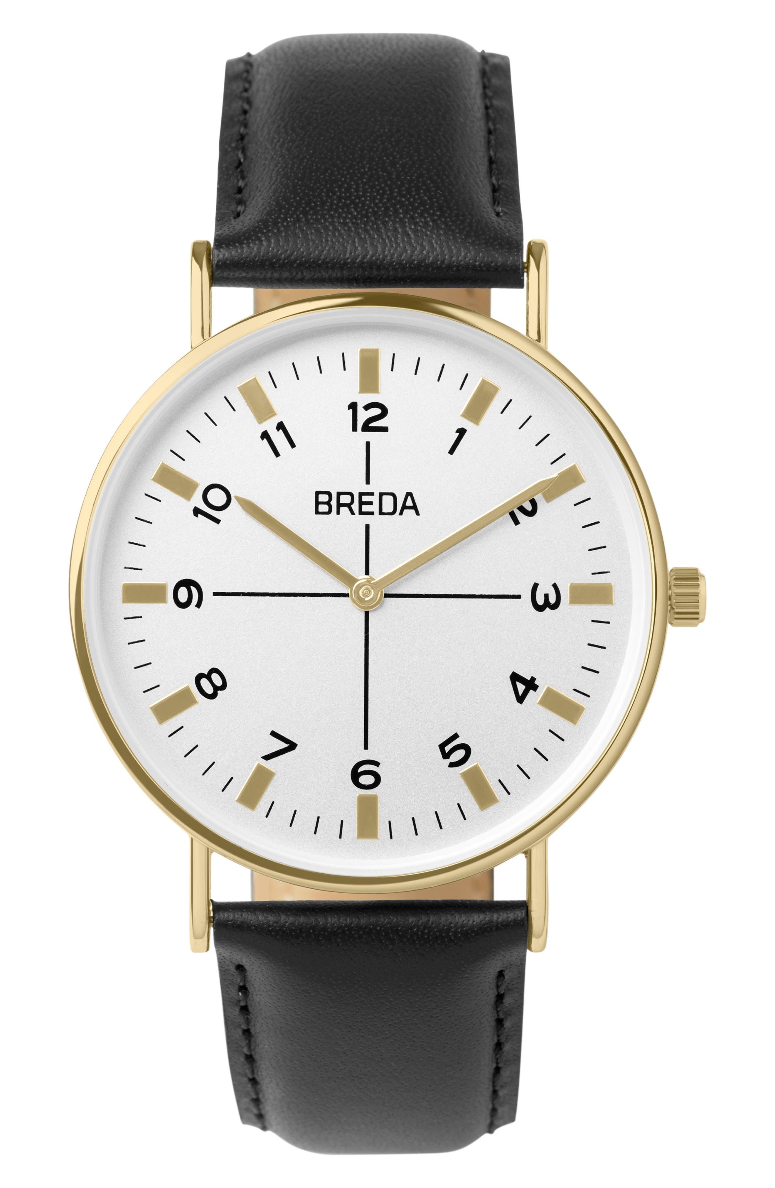 BREDA Belmont Slim Leather Strap Watch, 40mm