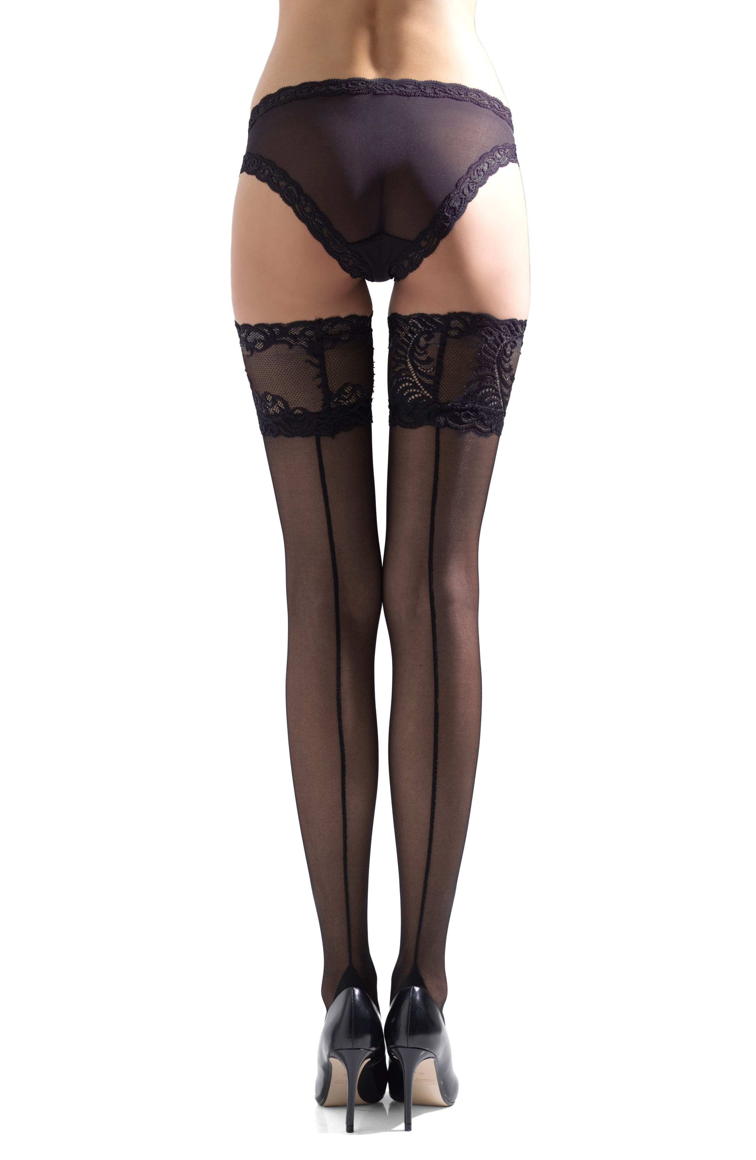 Alternate Image 2  - Natori Feather Escape Stay-Up Stockings