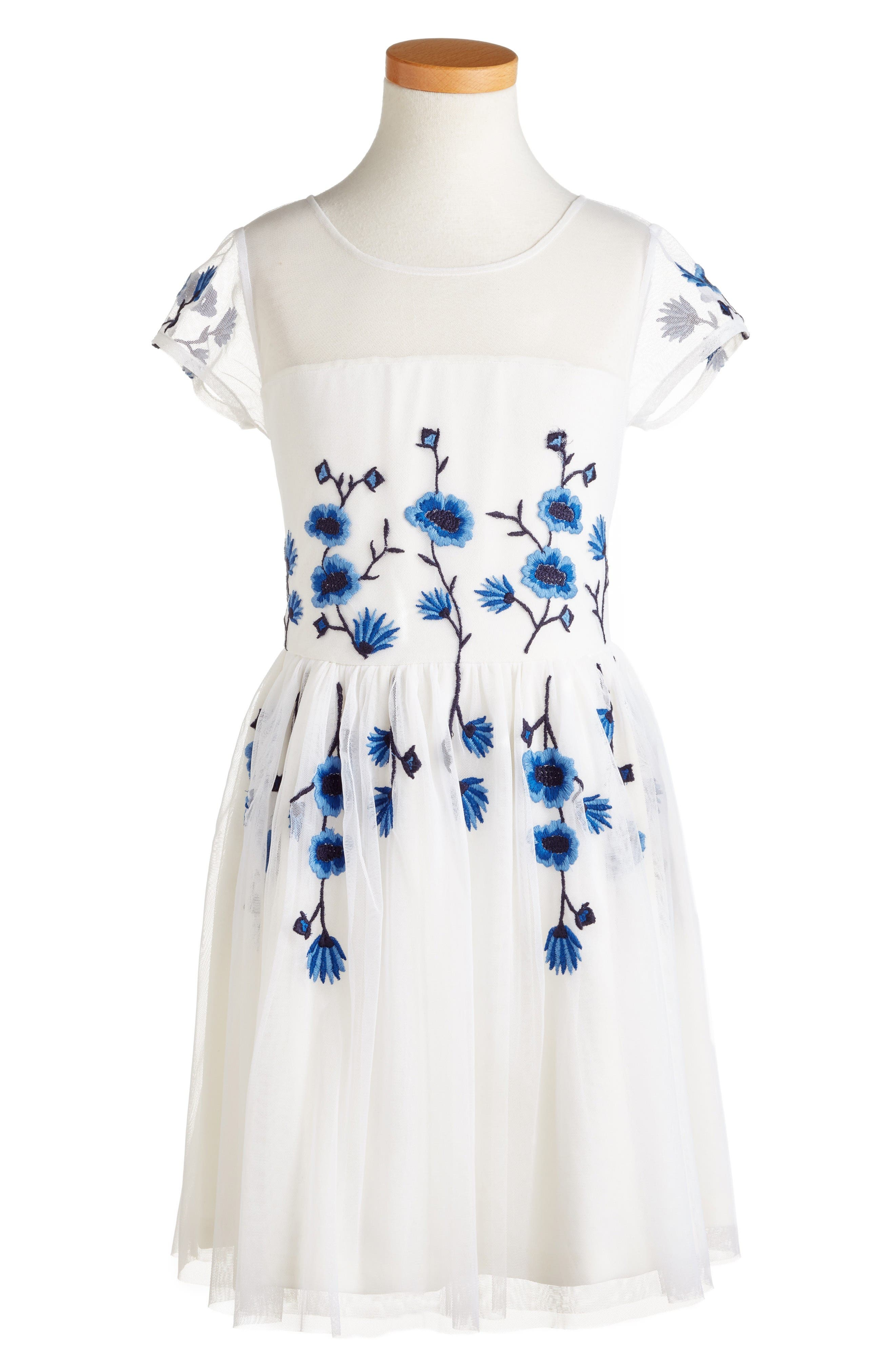 RUBY & BLOOM Embroidered Illusion Dress