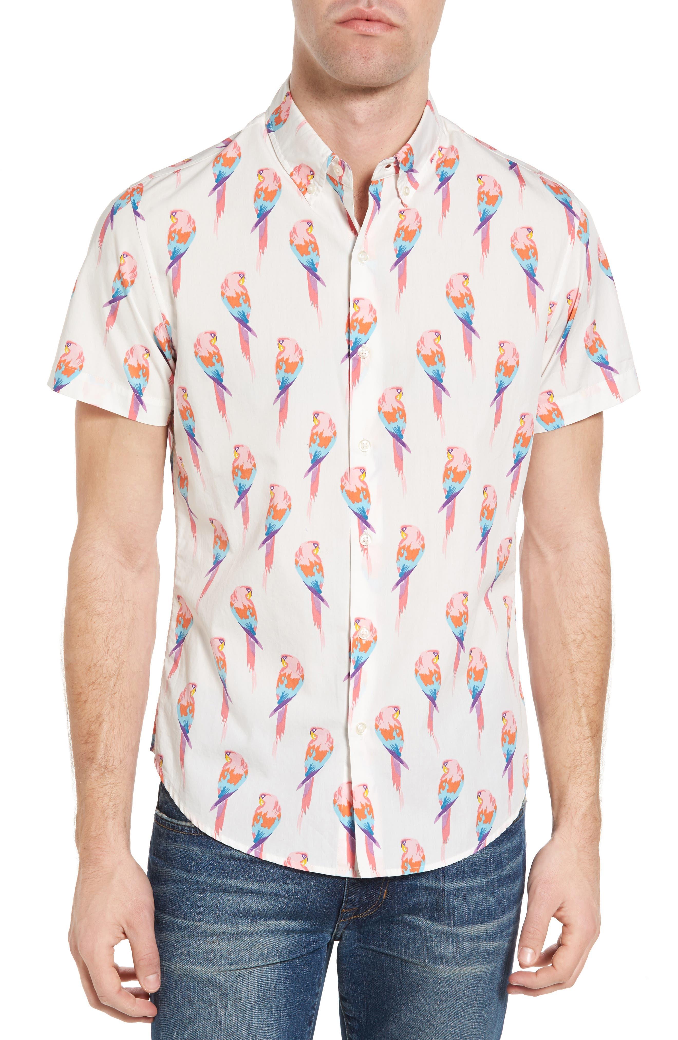 BONOBOS Slim Fit Parrot Print Sport Shirt