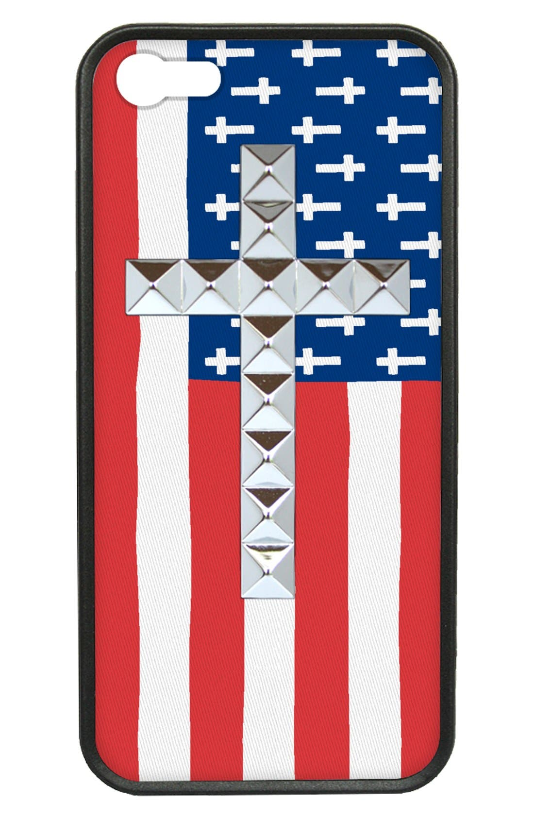 Alternate Image 1 Selected - wildflower 'American Flag Studded Cross' iPhone 5 & 5s Case