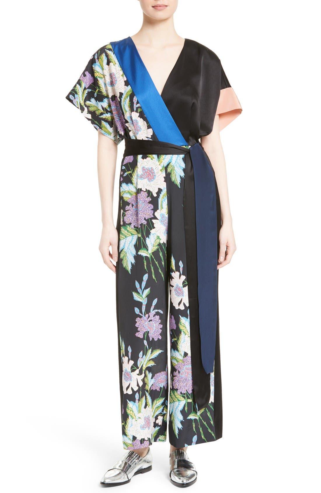 Main Image - Diane von Furstenberg Faux Wrap Silk Jumpsuit