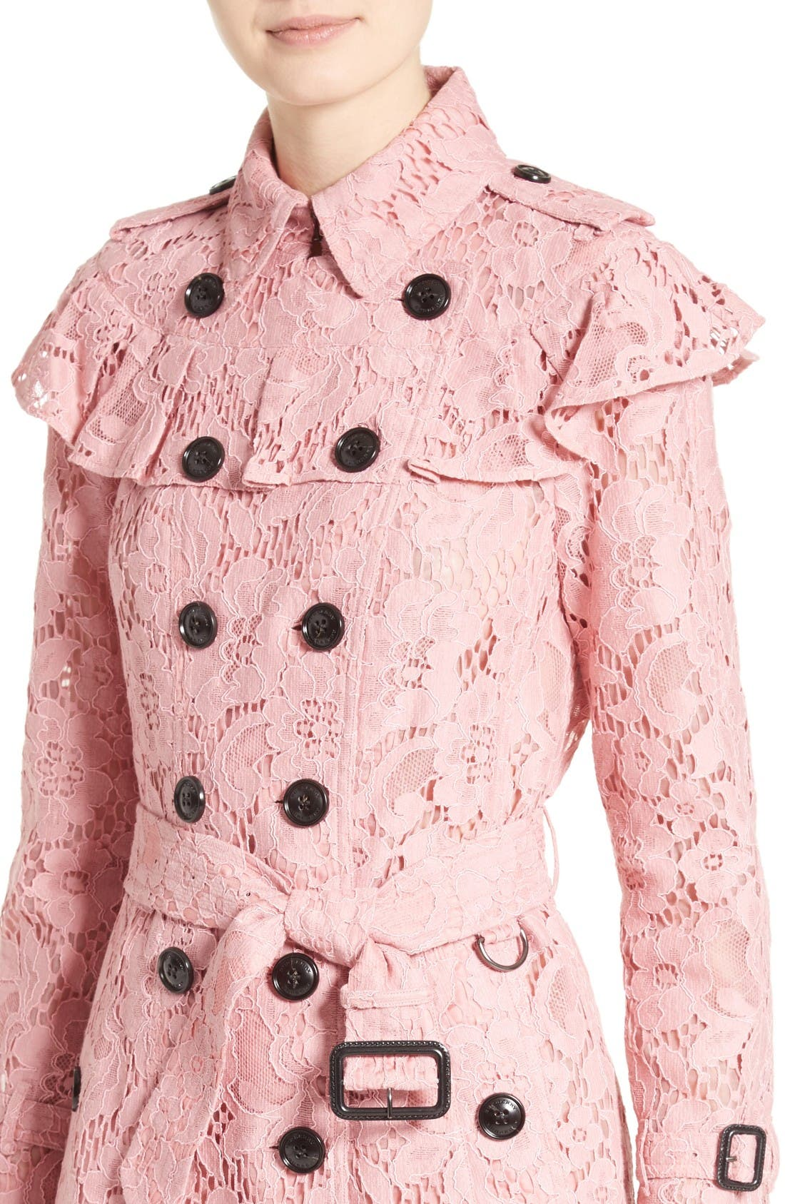 Alternate Image 6  - Burberry Stanhill Ruffle Lace Trench Coat