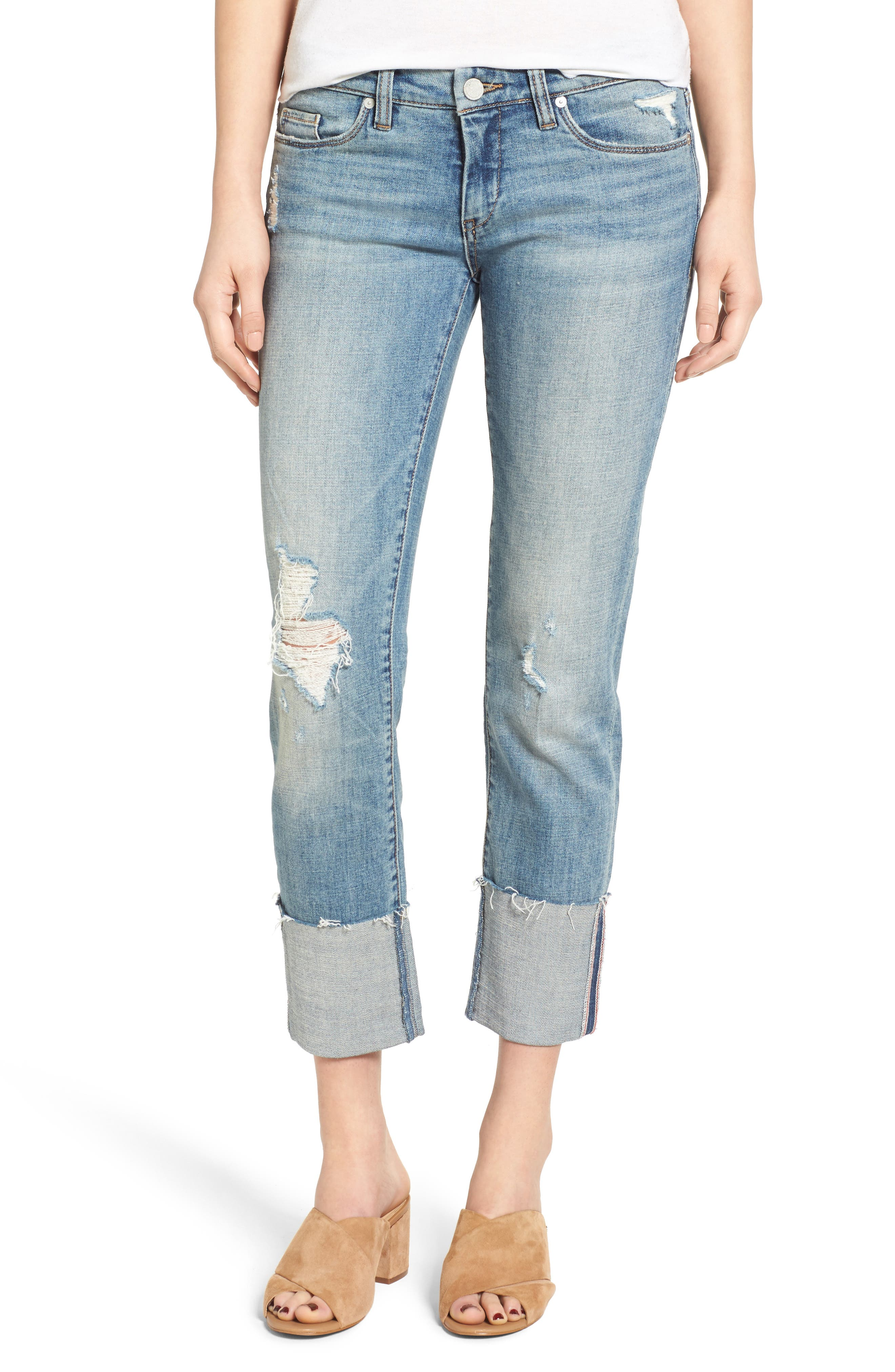 Alternate Image 1 Selected - BLANKNYC Lost & Found Cuffed Straight Leg Jeans
