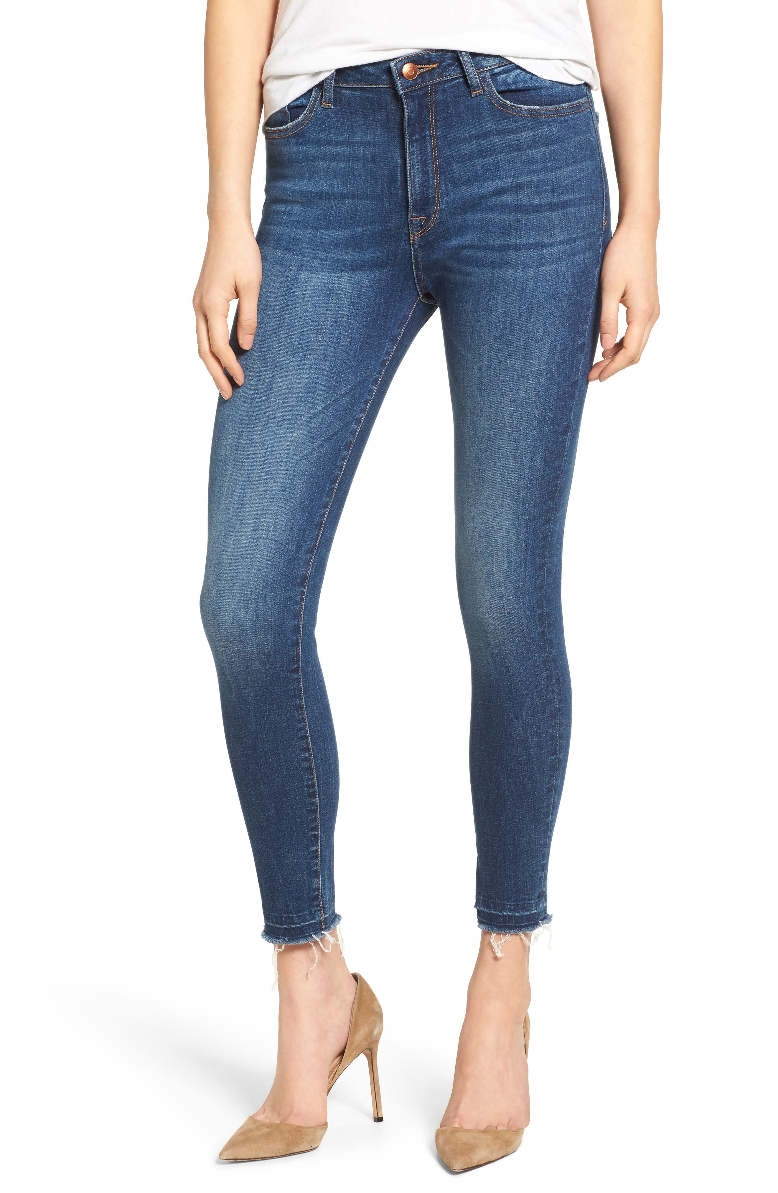 DL1961 Chrissy Trimtone High Rise Ankle Skinny Jeans (Incognito)