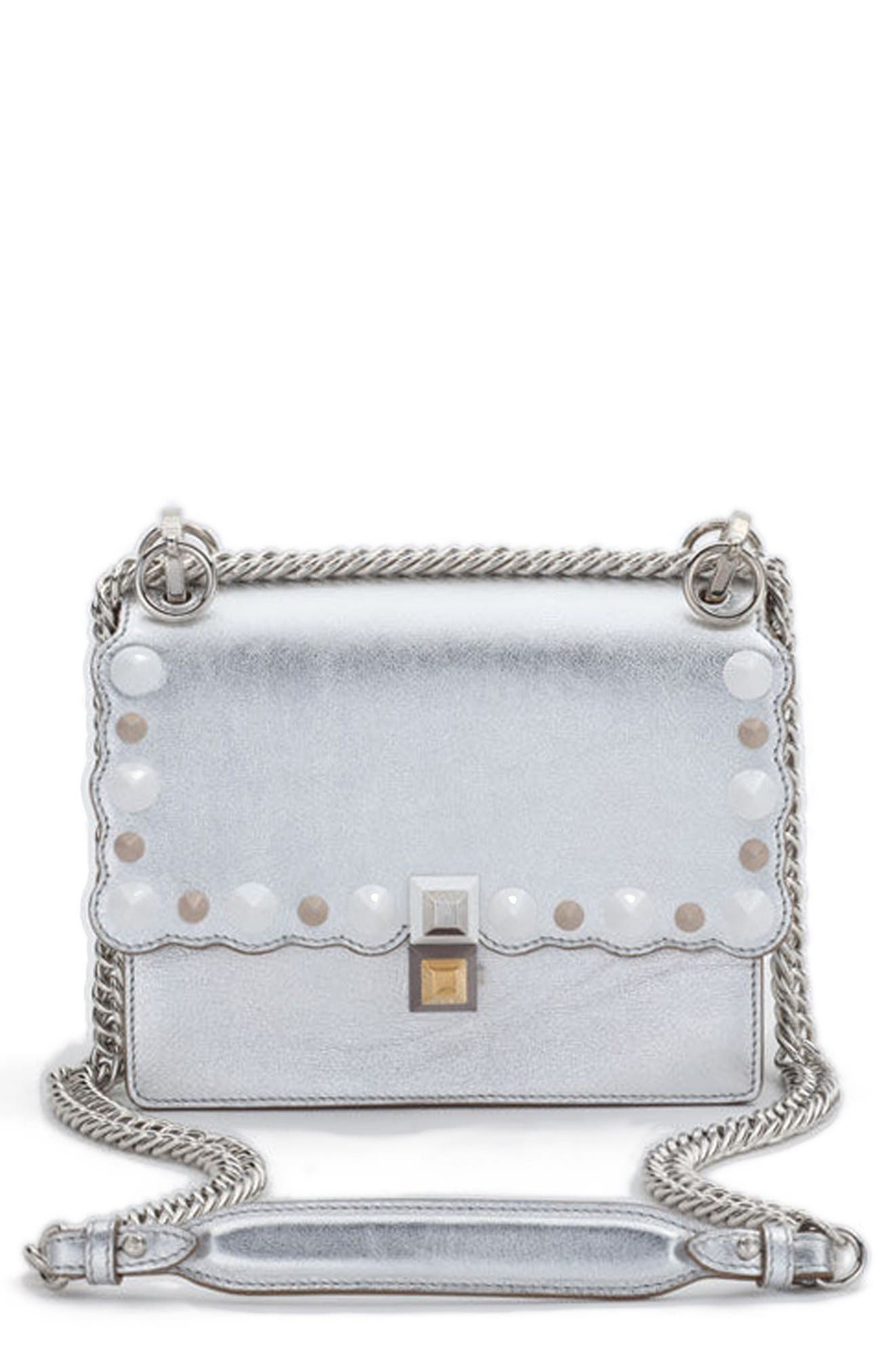 FENDI Small Kan I Metallic Leather Shoulder Bag
