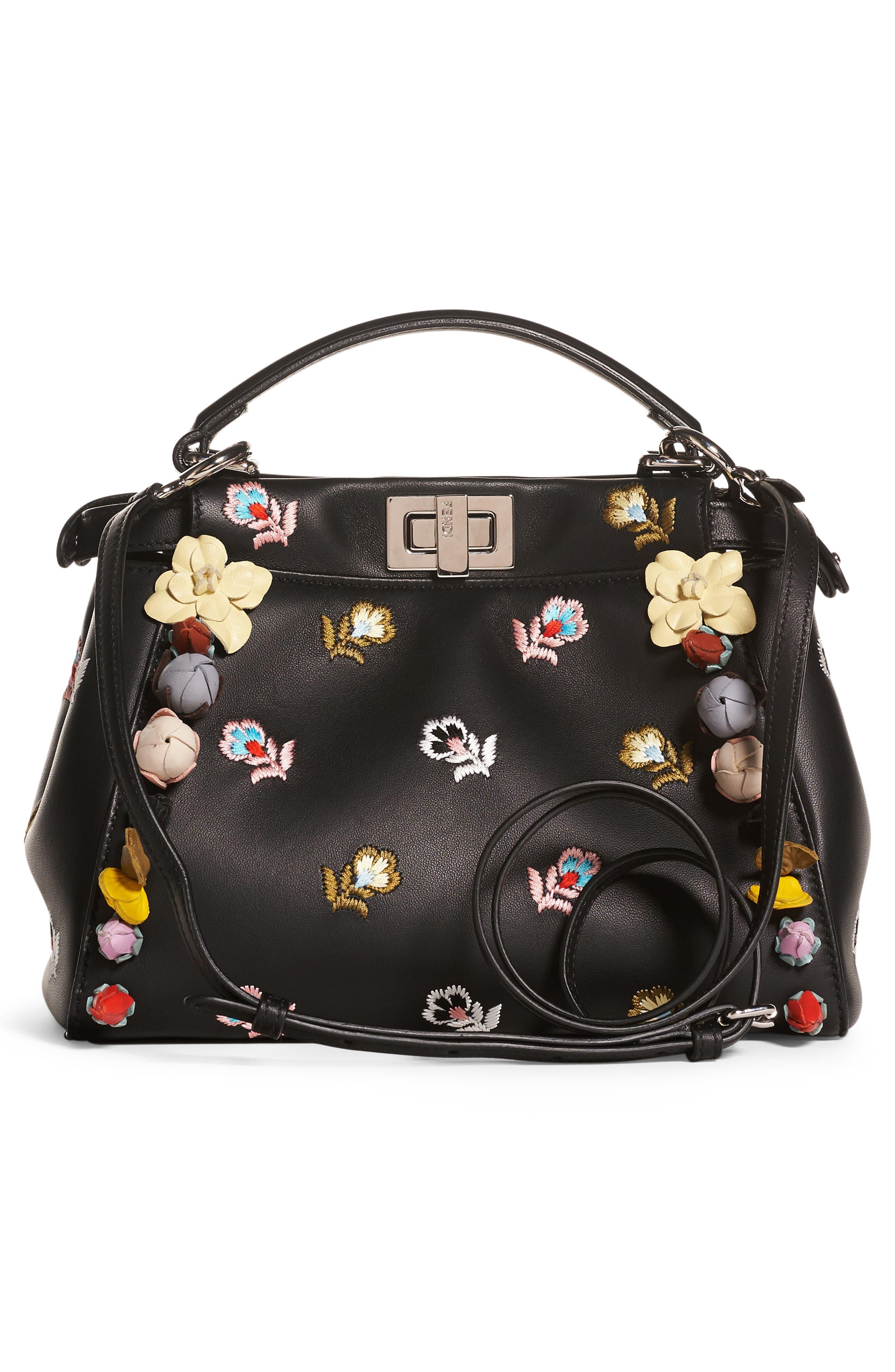 Alternate Image 2  - Fendi Mini Peekaboo Floral Appliqué Leather Satchel