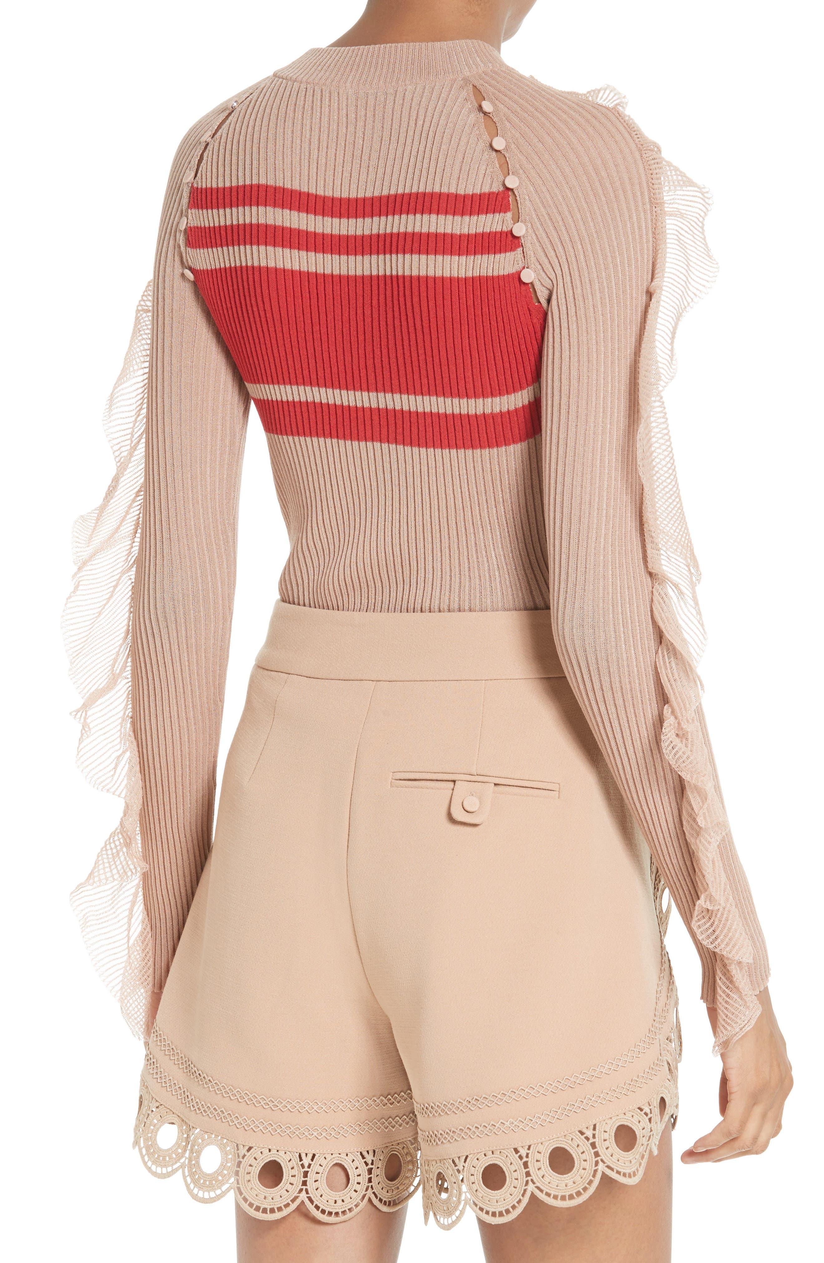 Alternate Image 3  - Self-Portrait Frilled Stripe Sweater