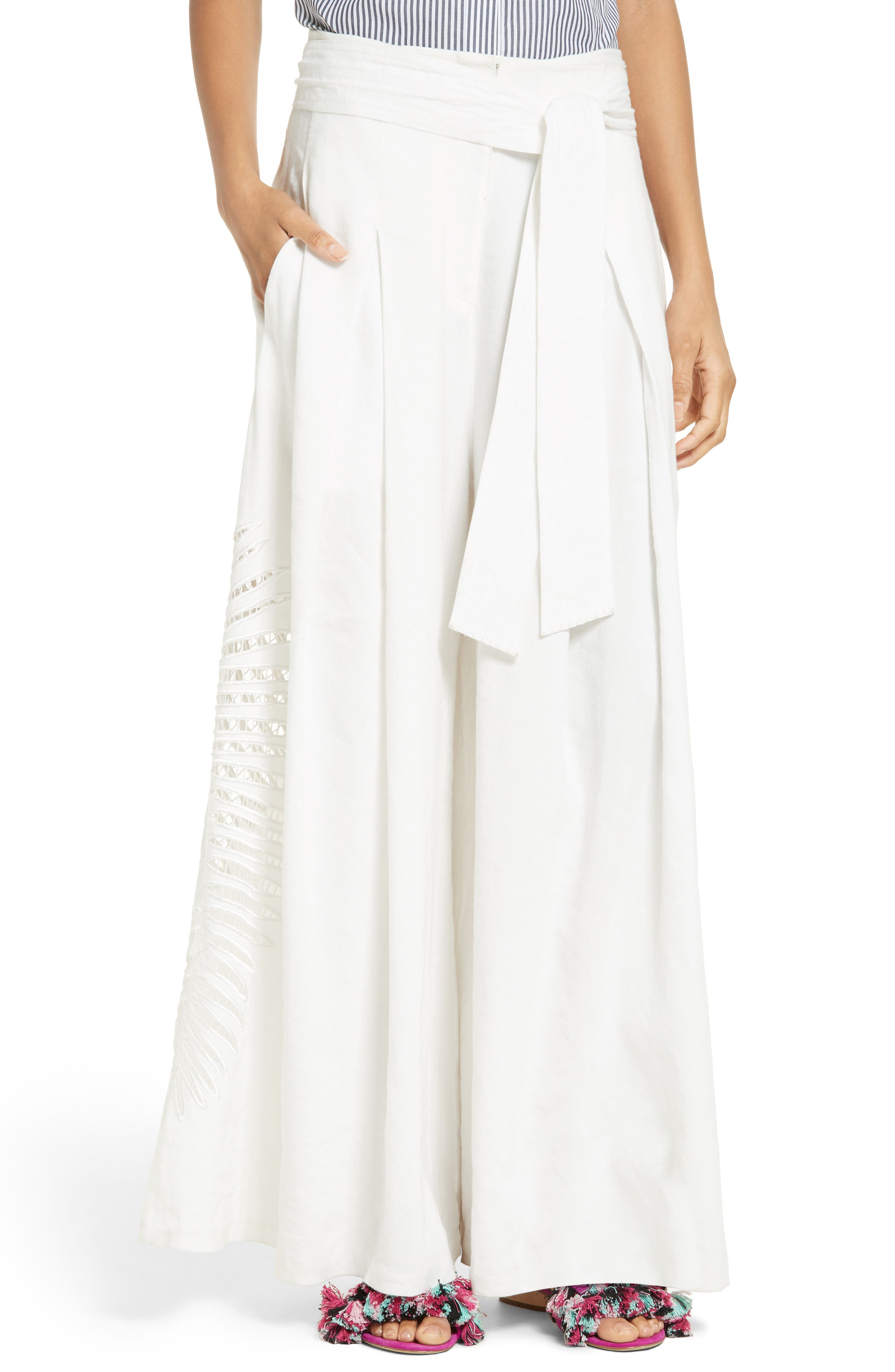 Alternate Image 1 Selected - Tanya Taylor Lulu Palm Embroidered Pants