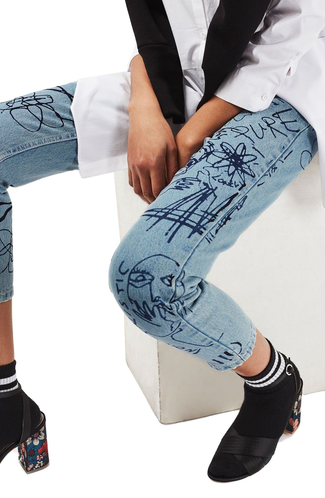 Alternate Image 5  - Topshop Scribble Crop Mom Jeans