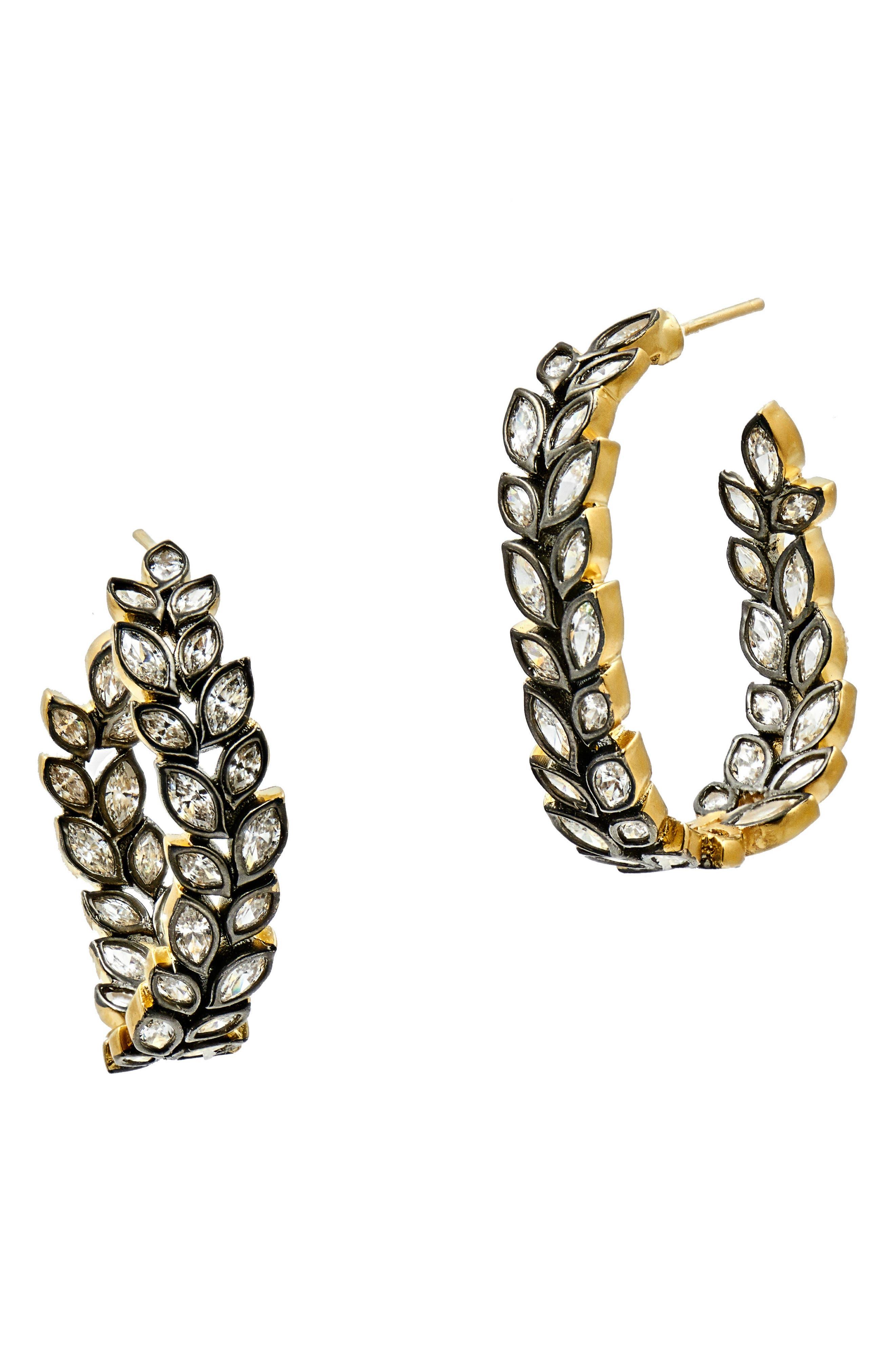 FREIDA ROTHMAN Fleur Bloom Hoop Earrings