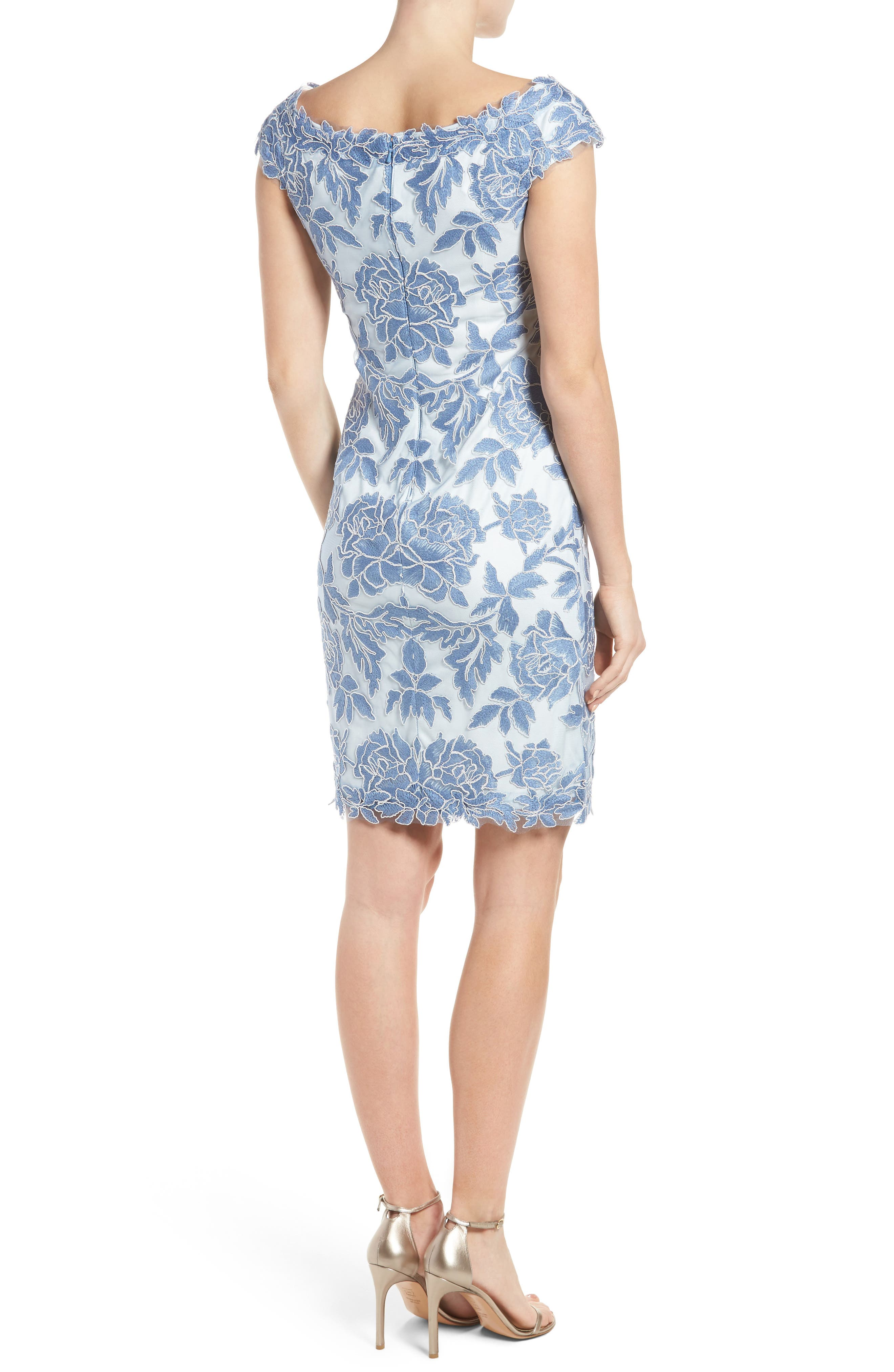 Alternate Image 3  - Tadashi Shoji Embroidered Mesh Sheath Dress (Regular & Petite)