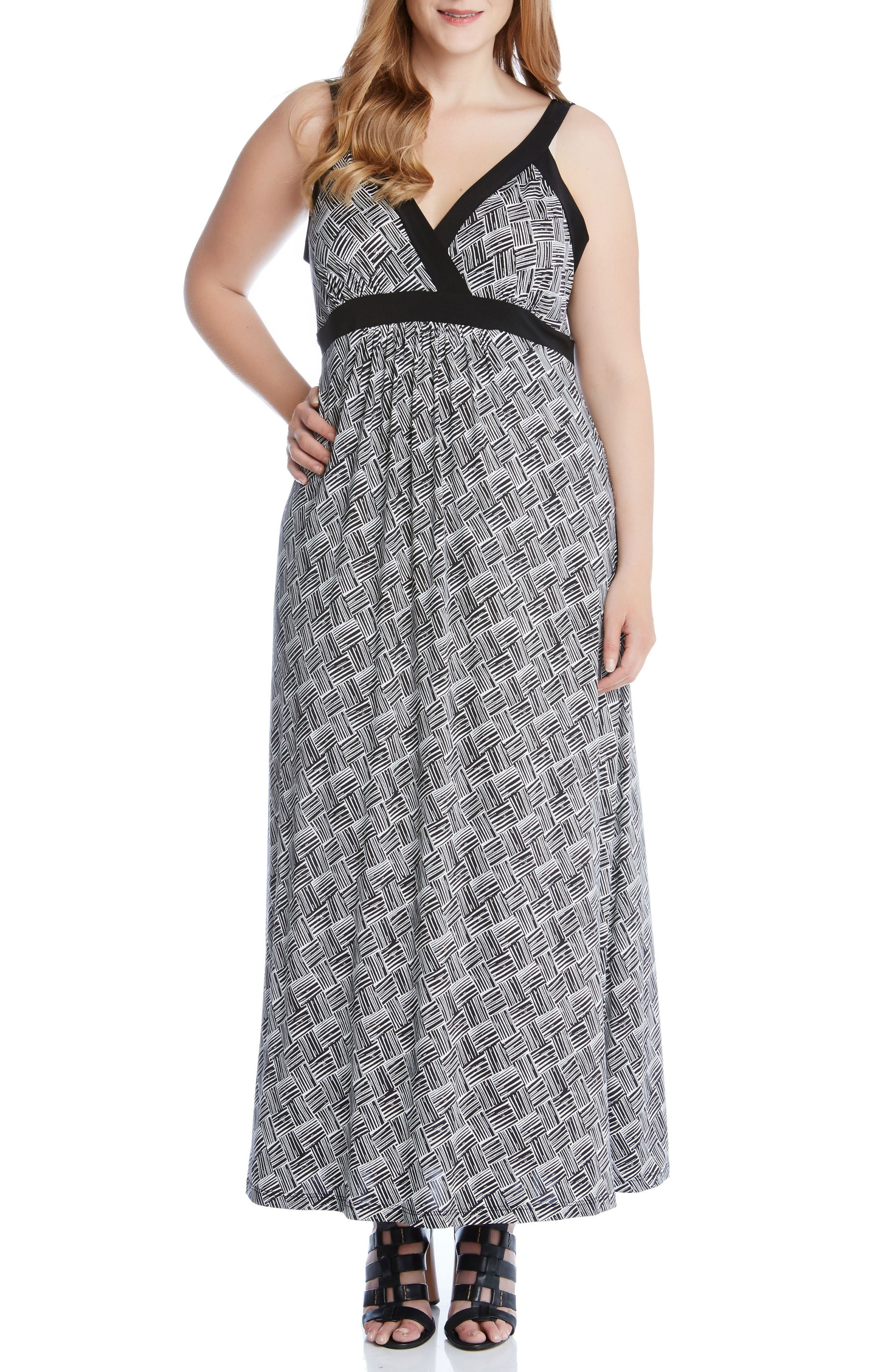 Karen Kane Banded A-Line Maxi Dress (Plus Size)