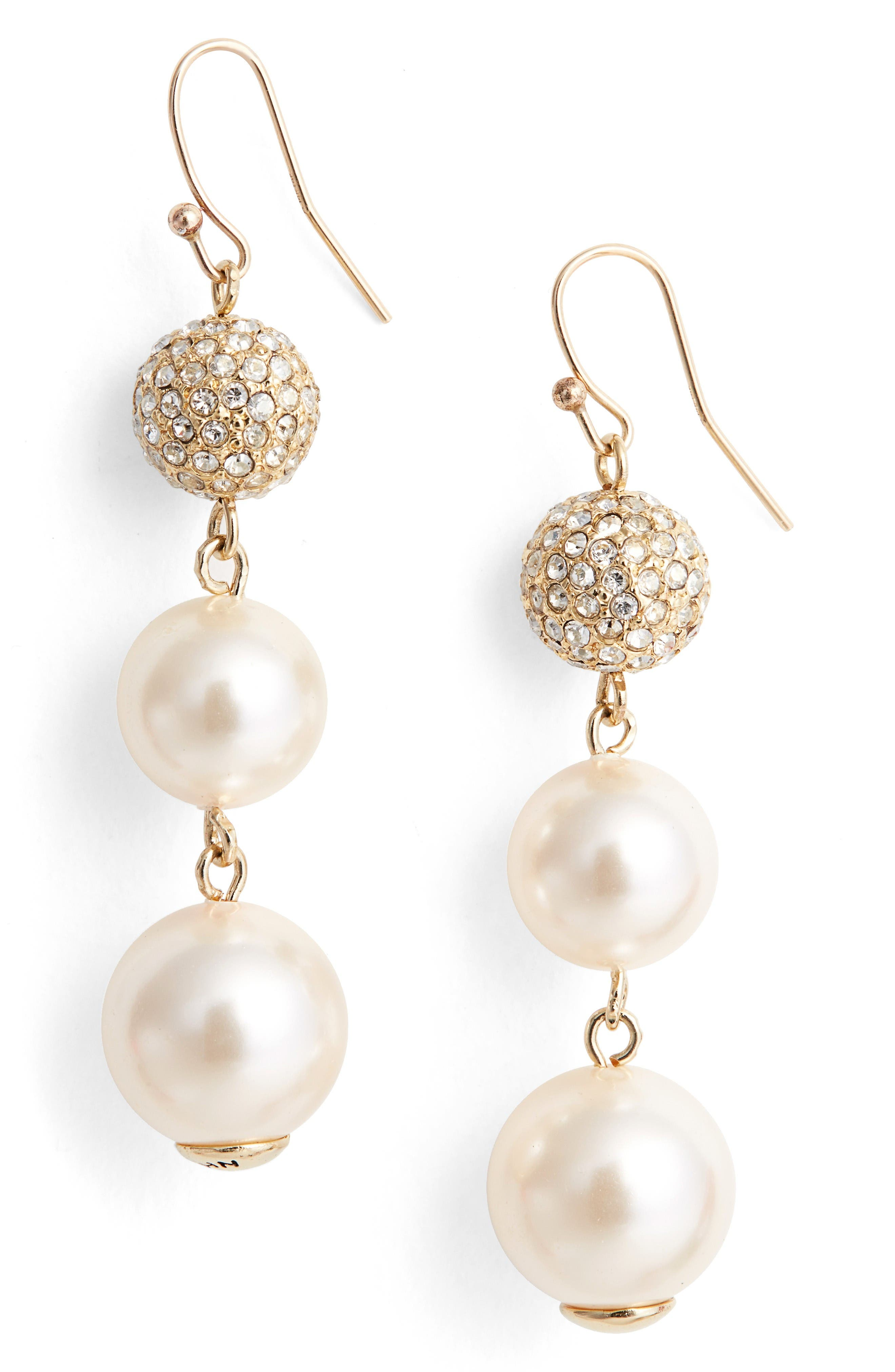 Alternate Image 1 Selected - St. John Collection Swarovski Imitation Pearl Drop Earrings