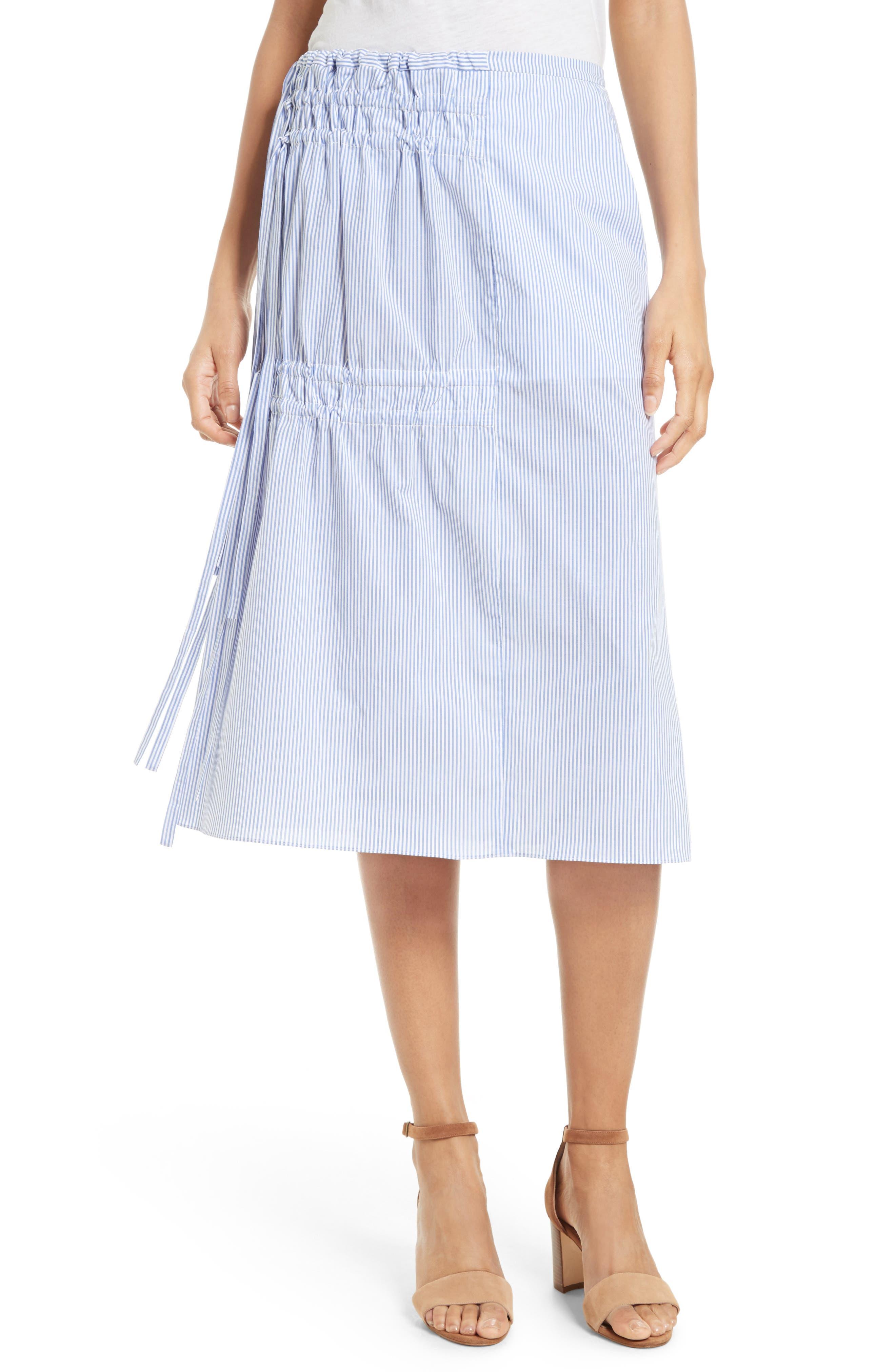 Tibi Elliot Stripe Side Tie Skirt