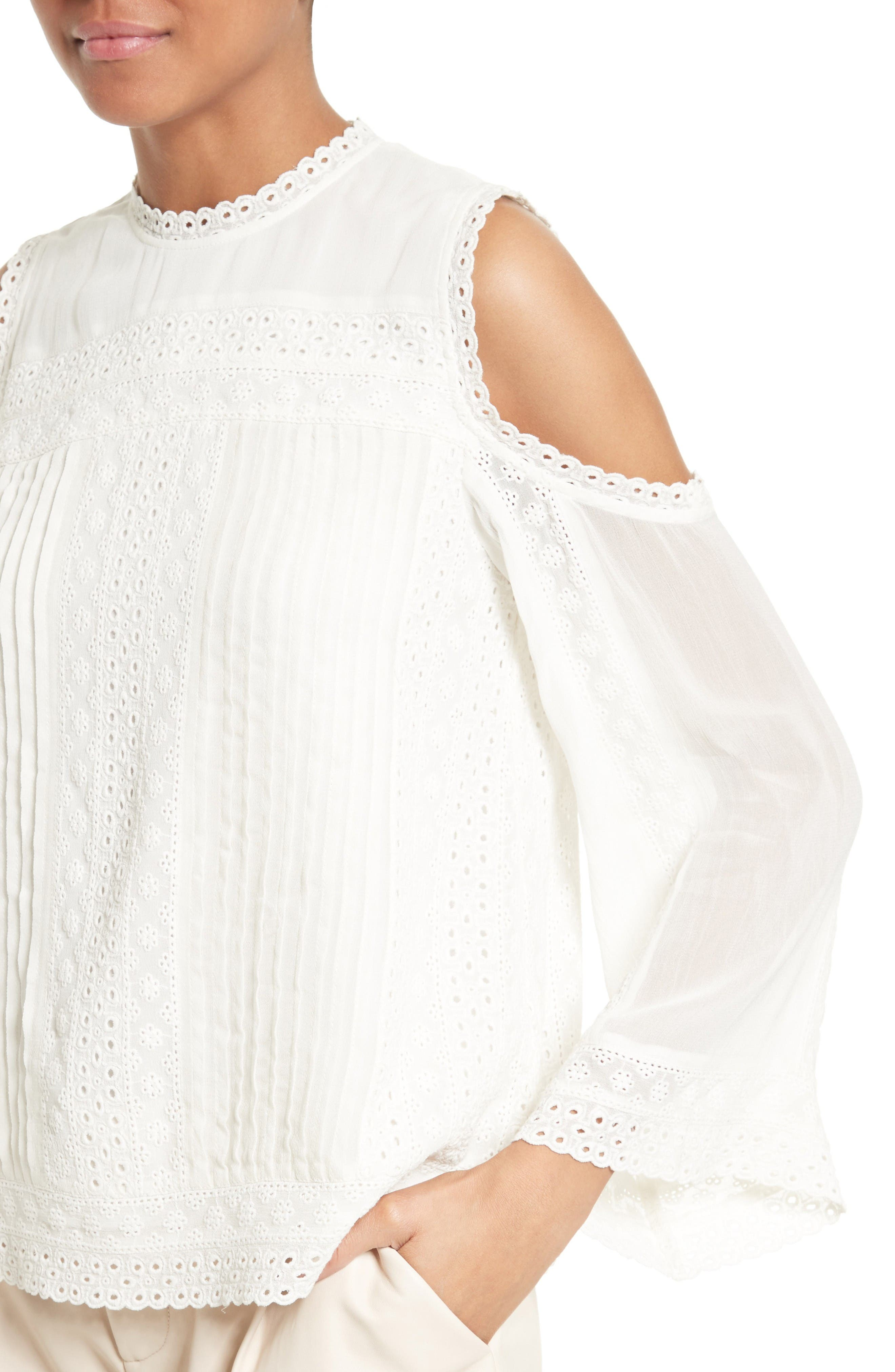Alternate Image 4  - Alice + Olivia Ofelia Eyelet Embroidered Cold Shoulder Blouse