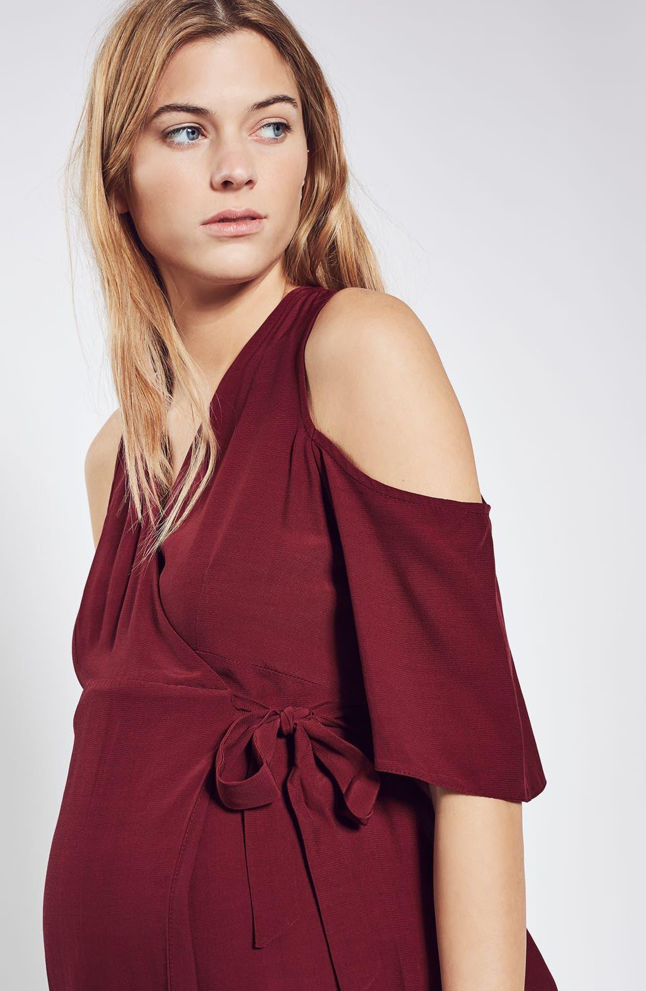 Alternate Image 2  - Topshop Cold Shoulder Wrap Maternity Dress