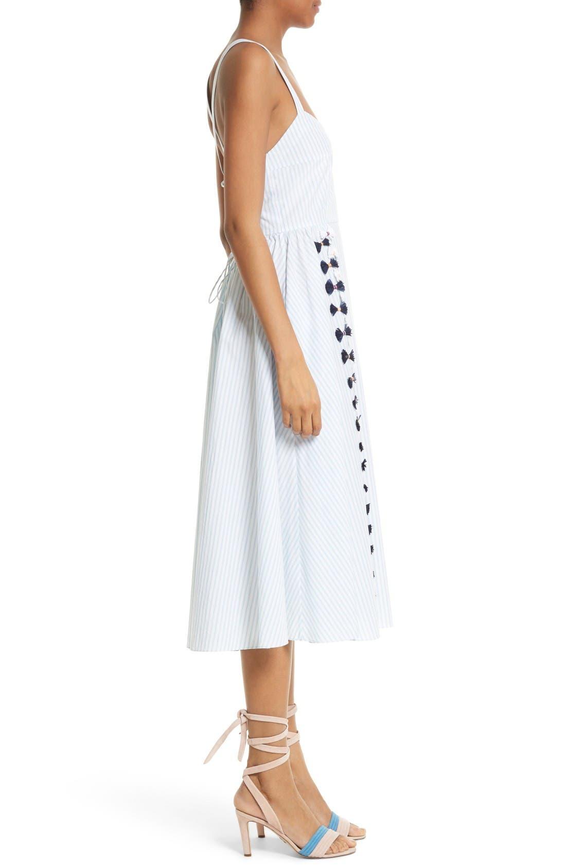 Alternate Image 3  - Tanya Taylor Pari Embroidered Menswear Stripe Dress