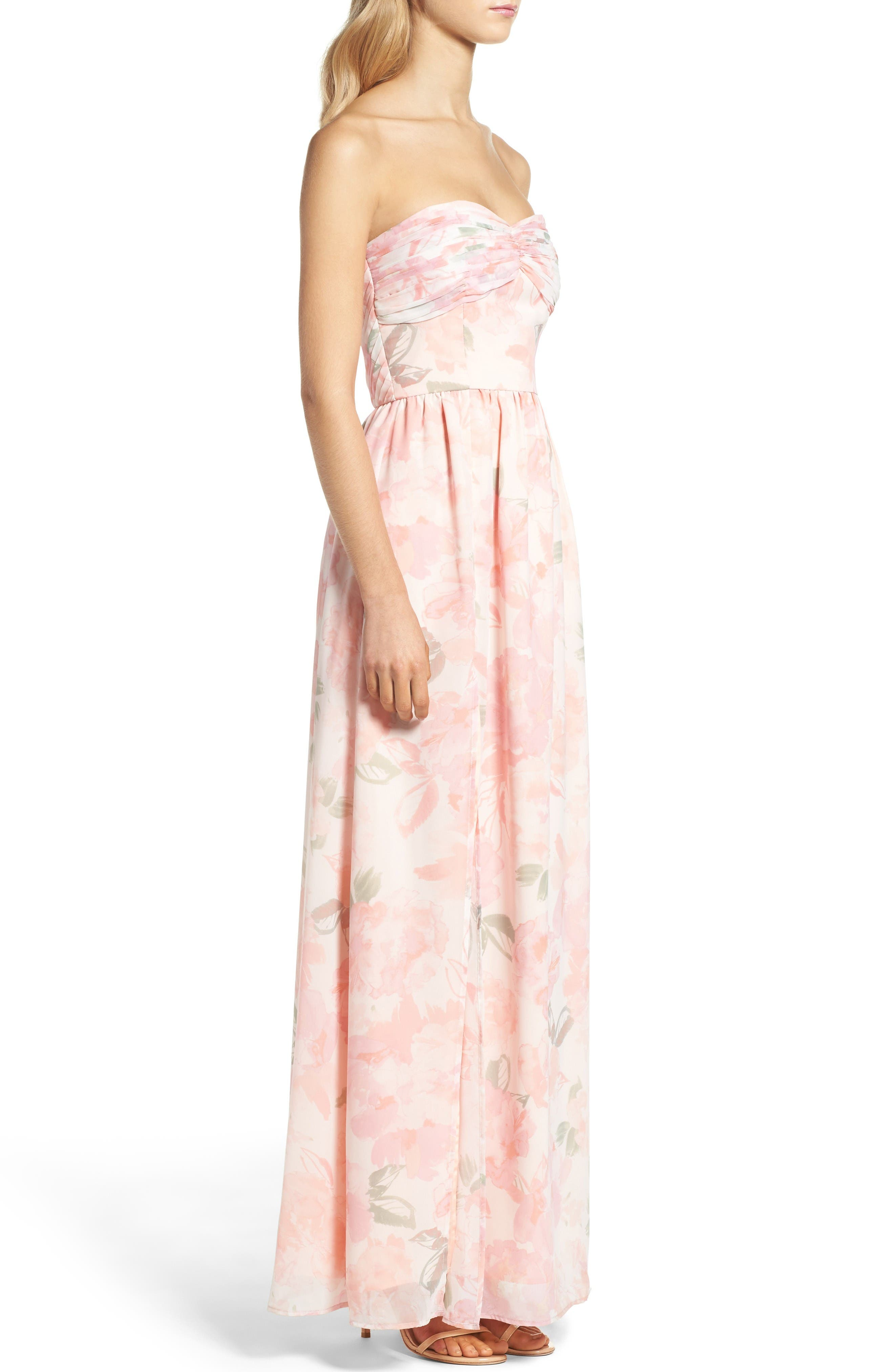 Alternate Image 3  - Plum Pretty Sugar Floral Strapless Gown