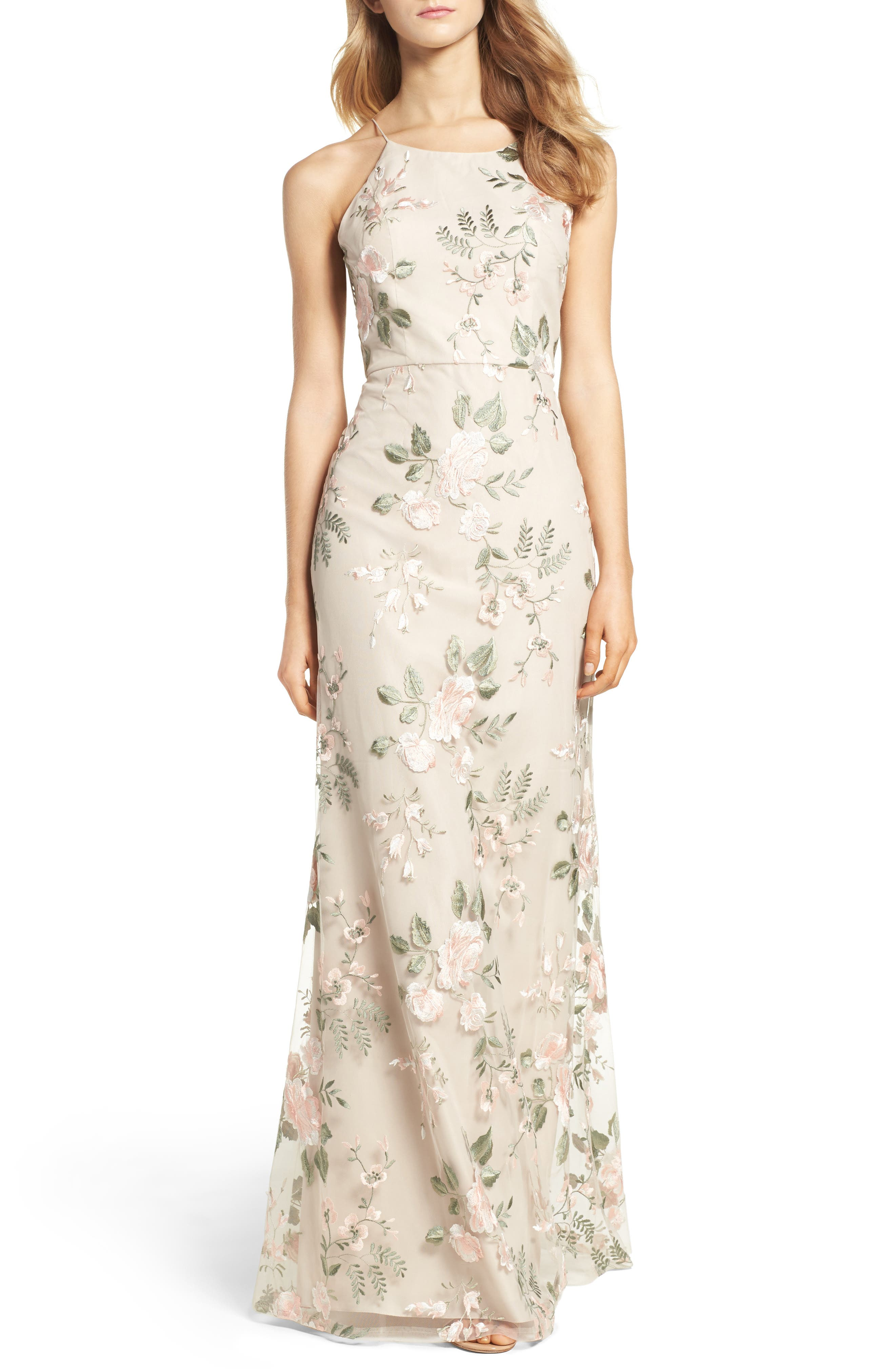 Jenny Yoo Claire Floral Embroidered Gown