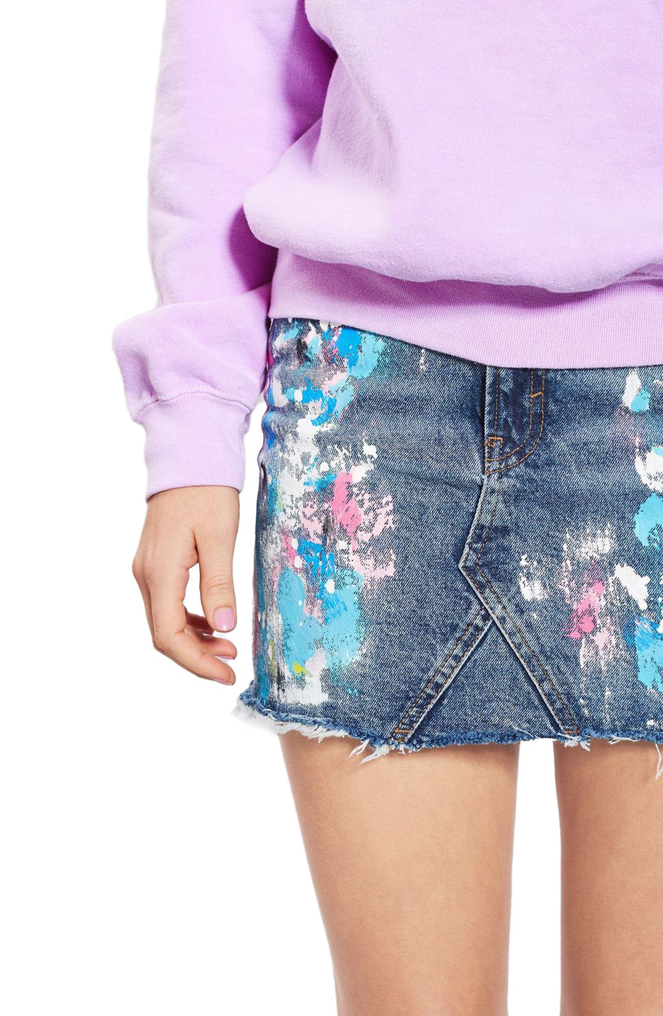 Main Image - Topshop Moto Splatter Paint Denim Miniskirt