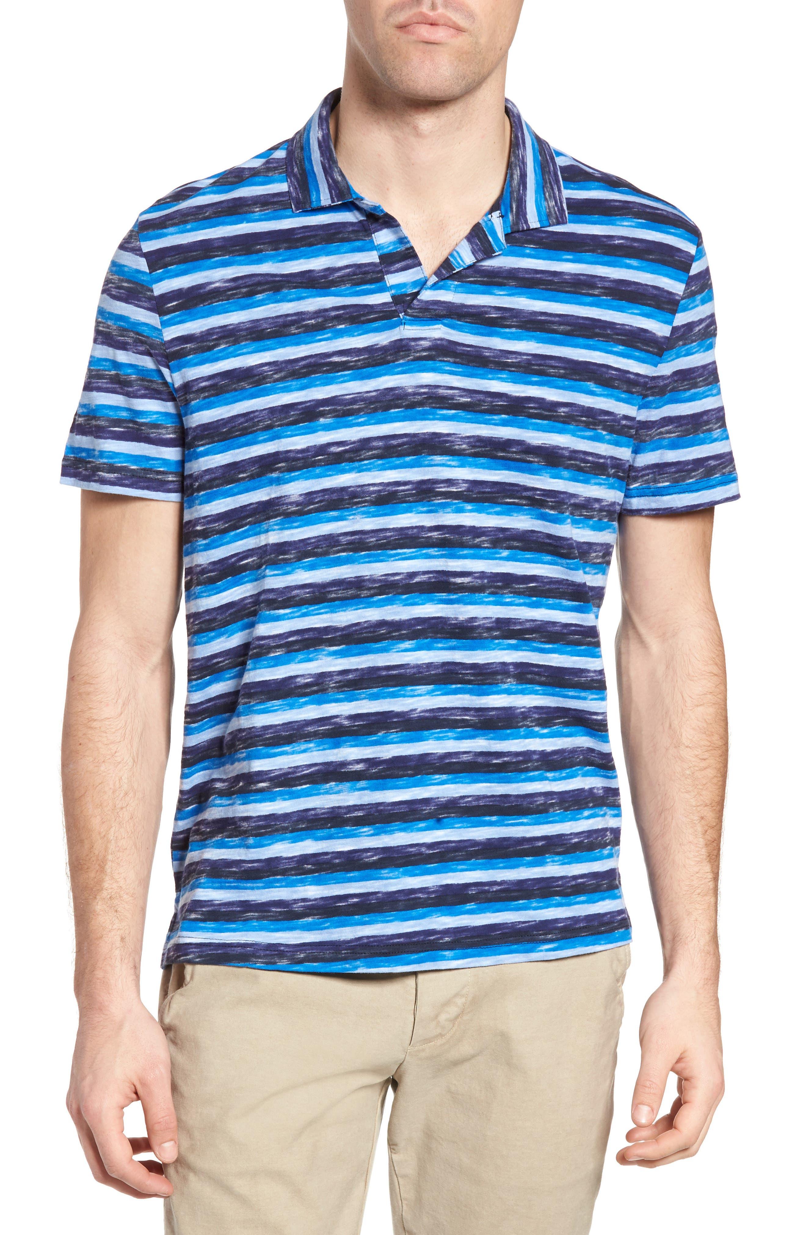 Michael Bastian Stripe Print Jersey Polo