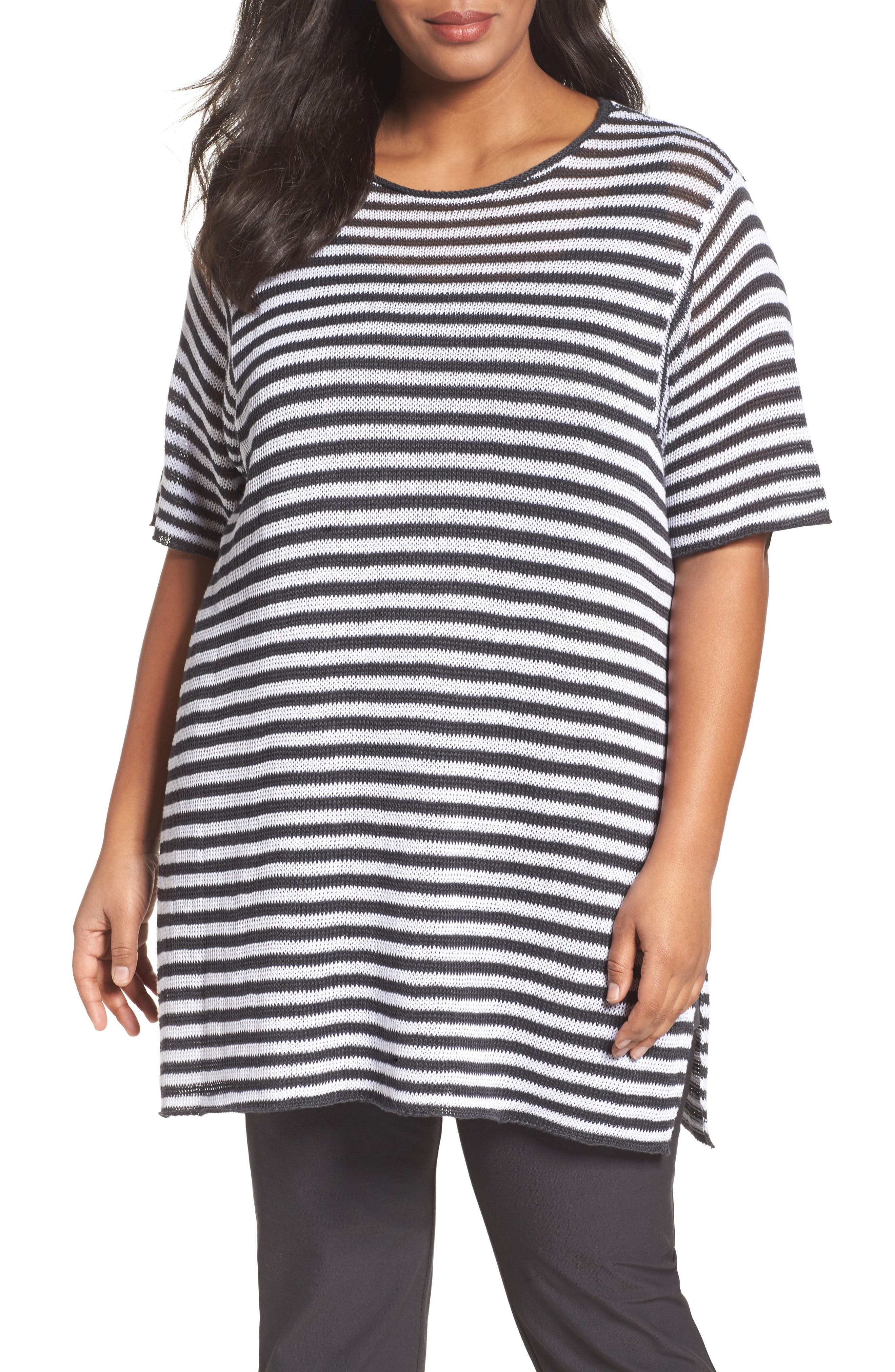 EILEEN FISHER Stripe Organic Linen Tunic