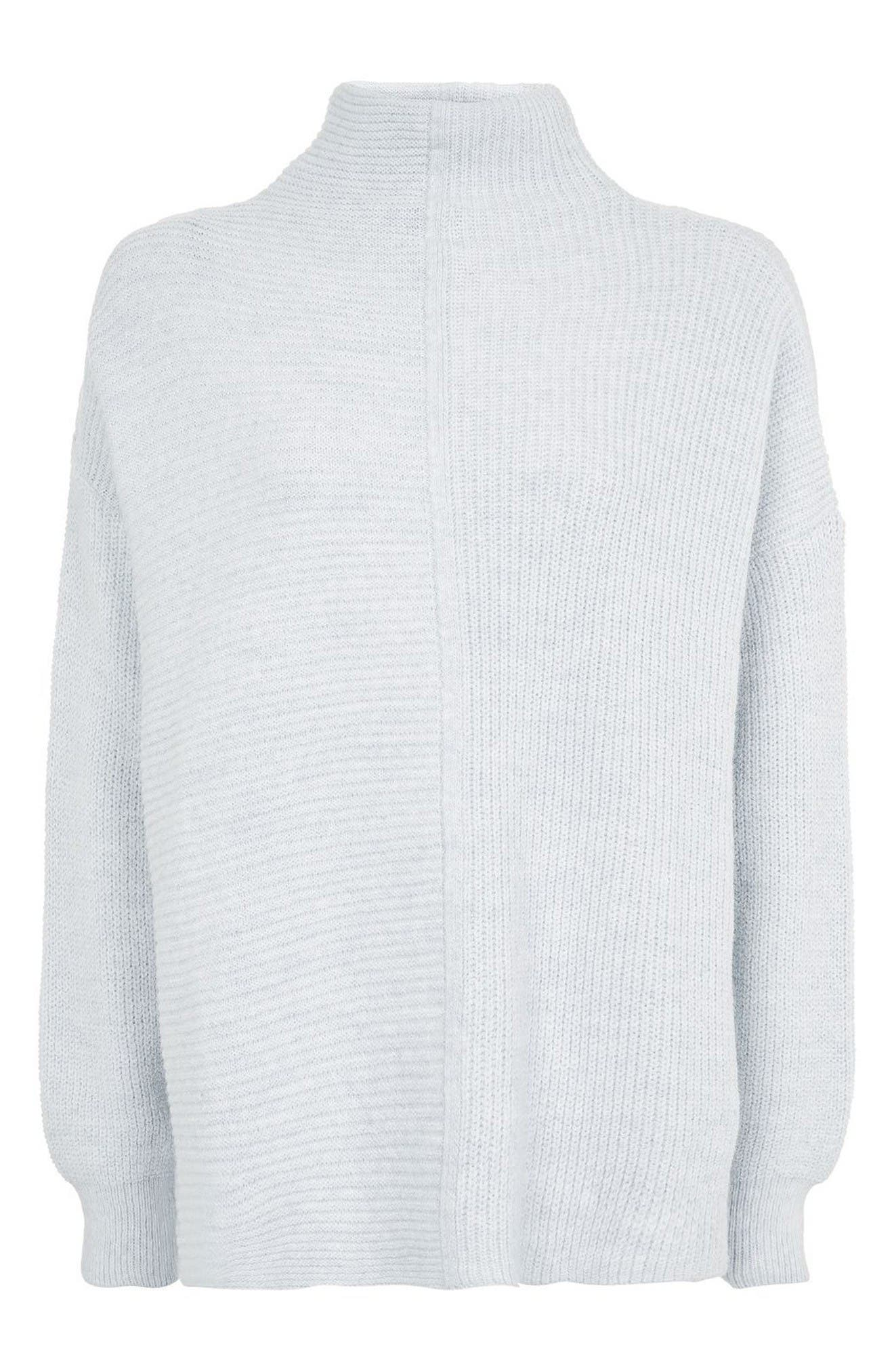Alternate Image 4  - Topshop Mixed Rib Funnel Sweater
