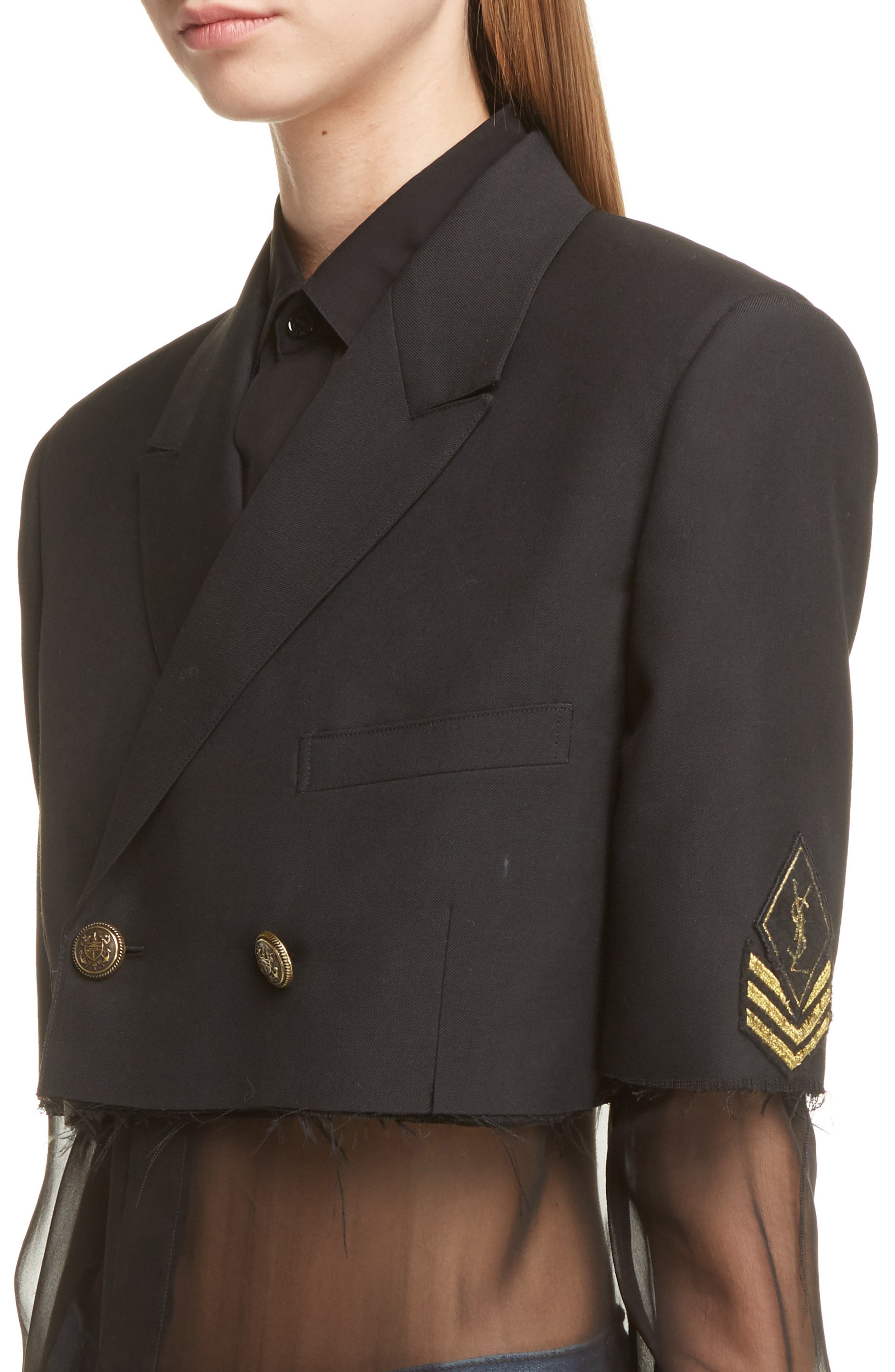 Alternate Image 6  - Saint Laurent Wool Crop Officer Jacket