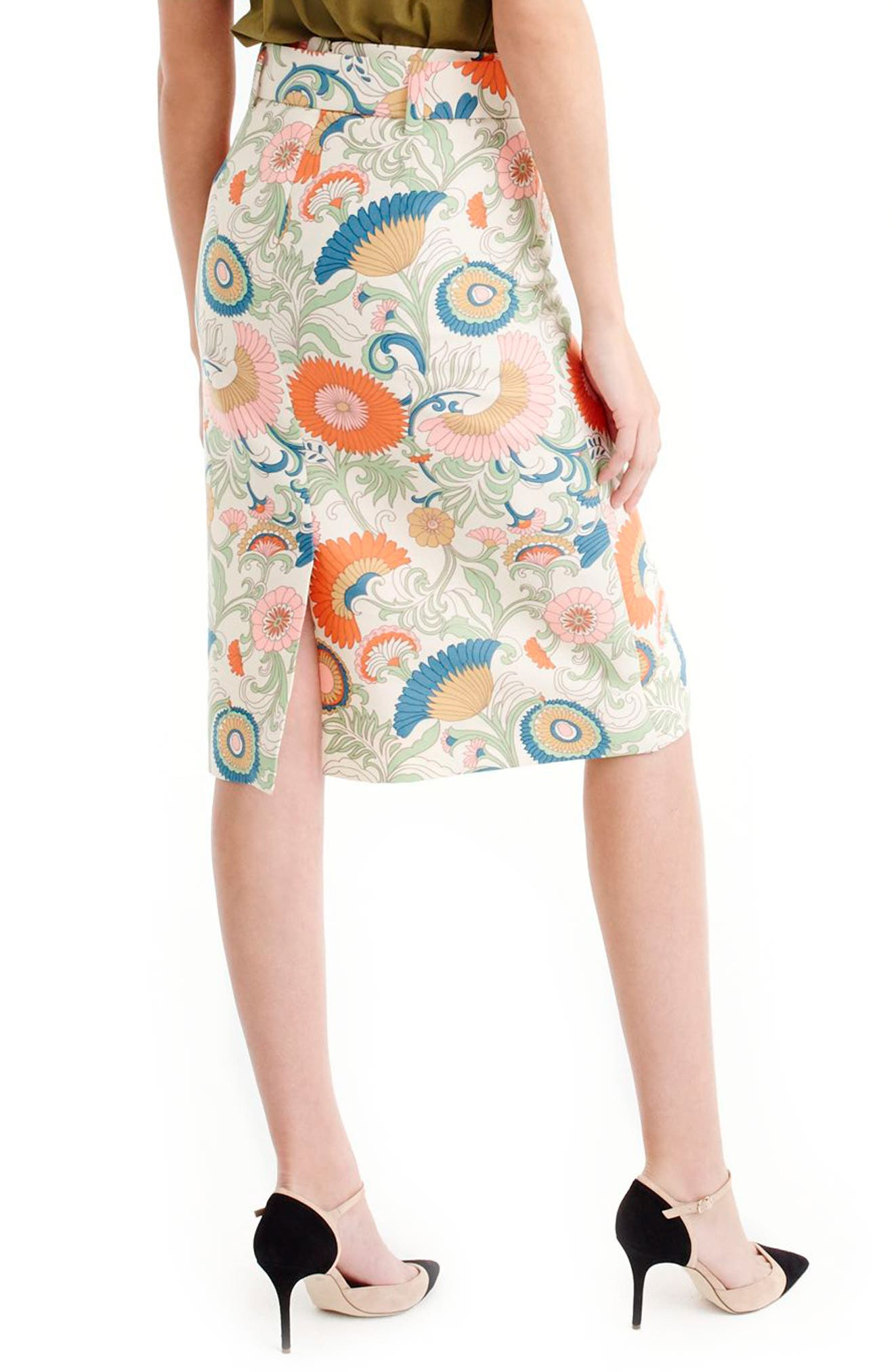 Alternate Image 2  - J.Crew Tie Waist Ornate Floral Skirt (Regular & Petite)
