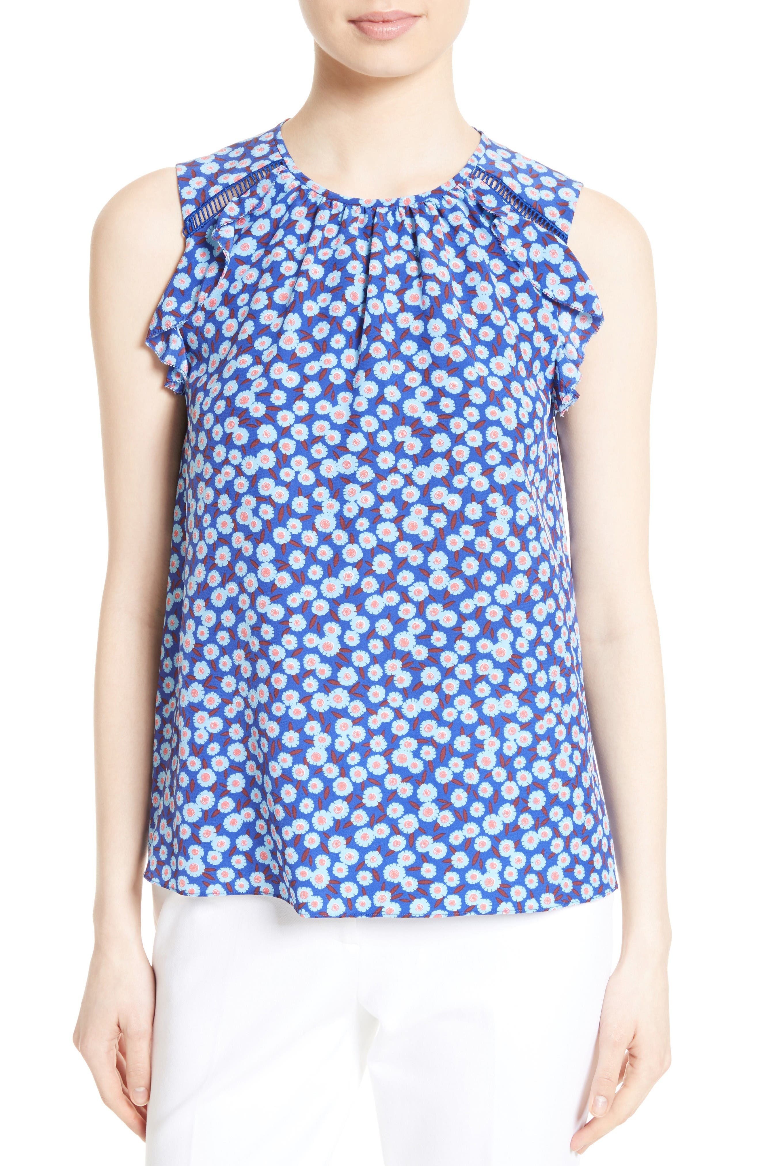 kate spade new york tangier floral silk ruffle top