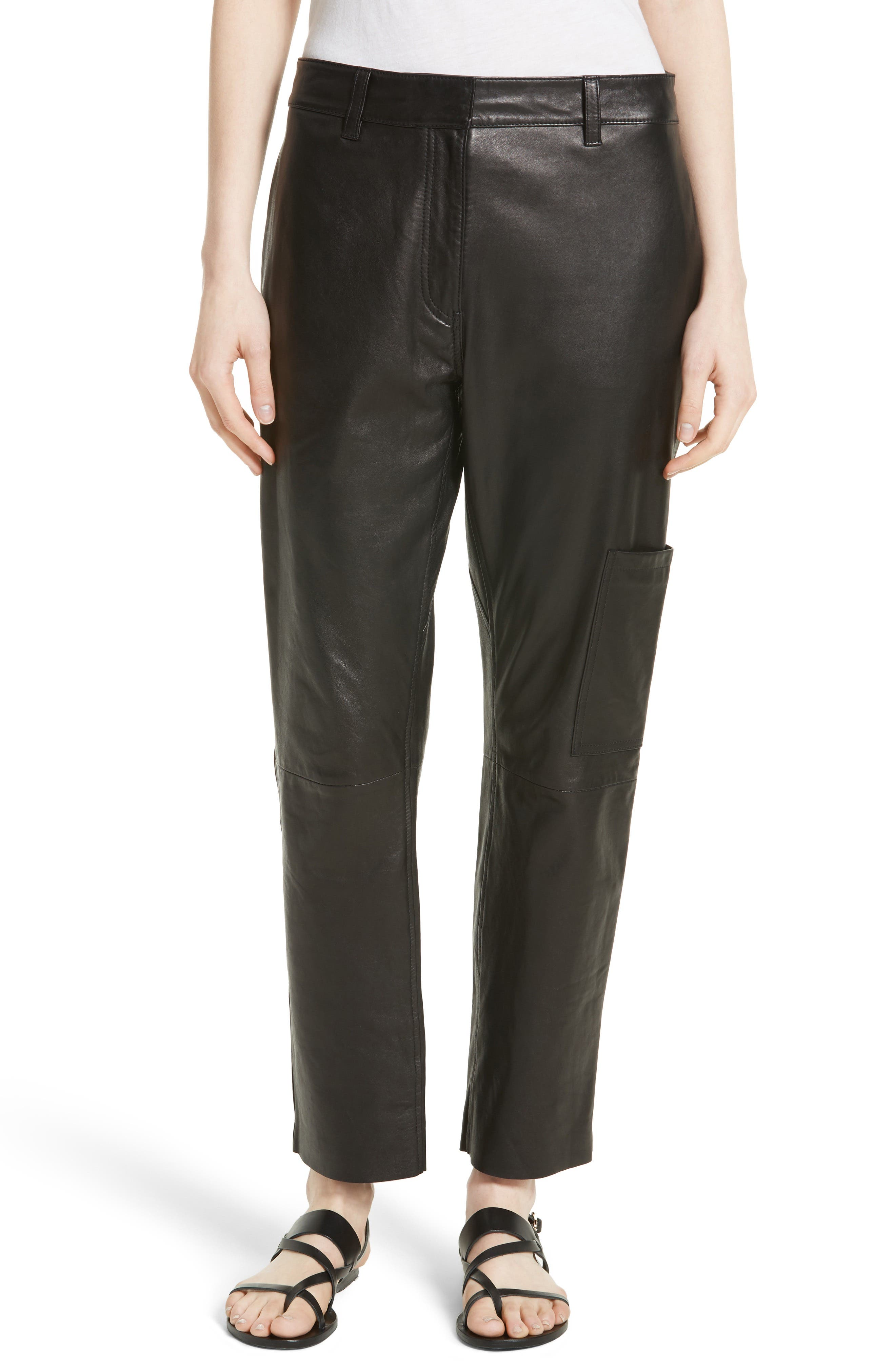 Theory Thorelle L Noble Crop Leather Pants