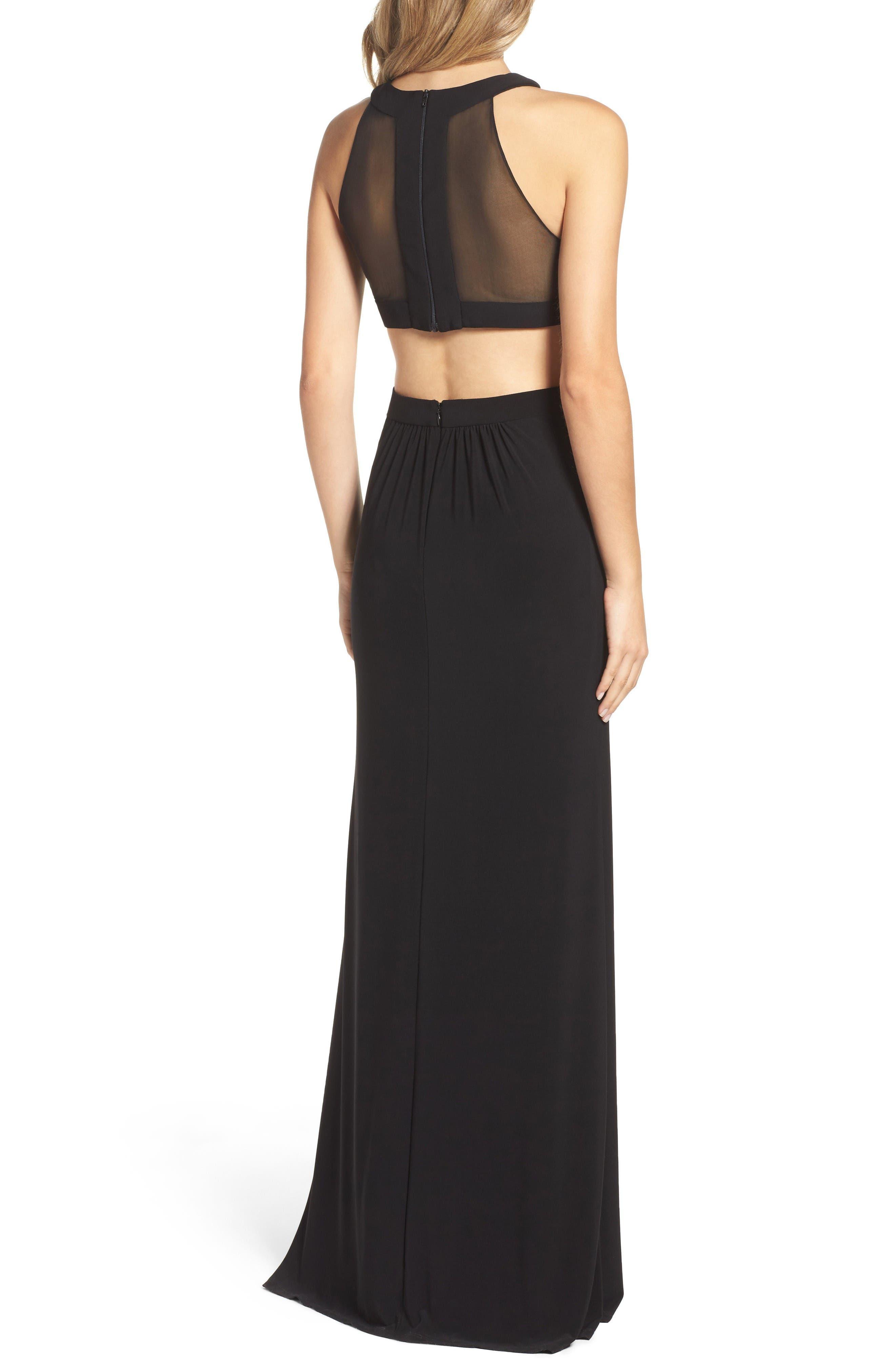 Alternate Image 2  - Xscape Mesh & Jersey Gown (Regular & Petite)