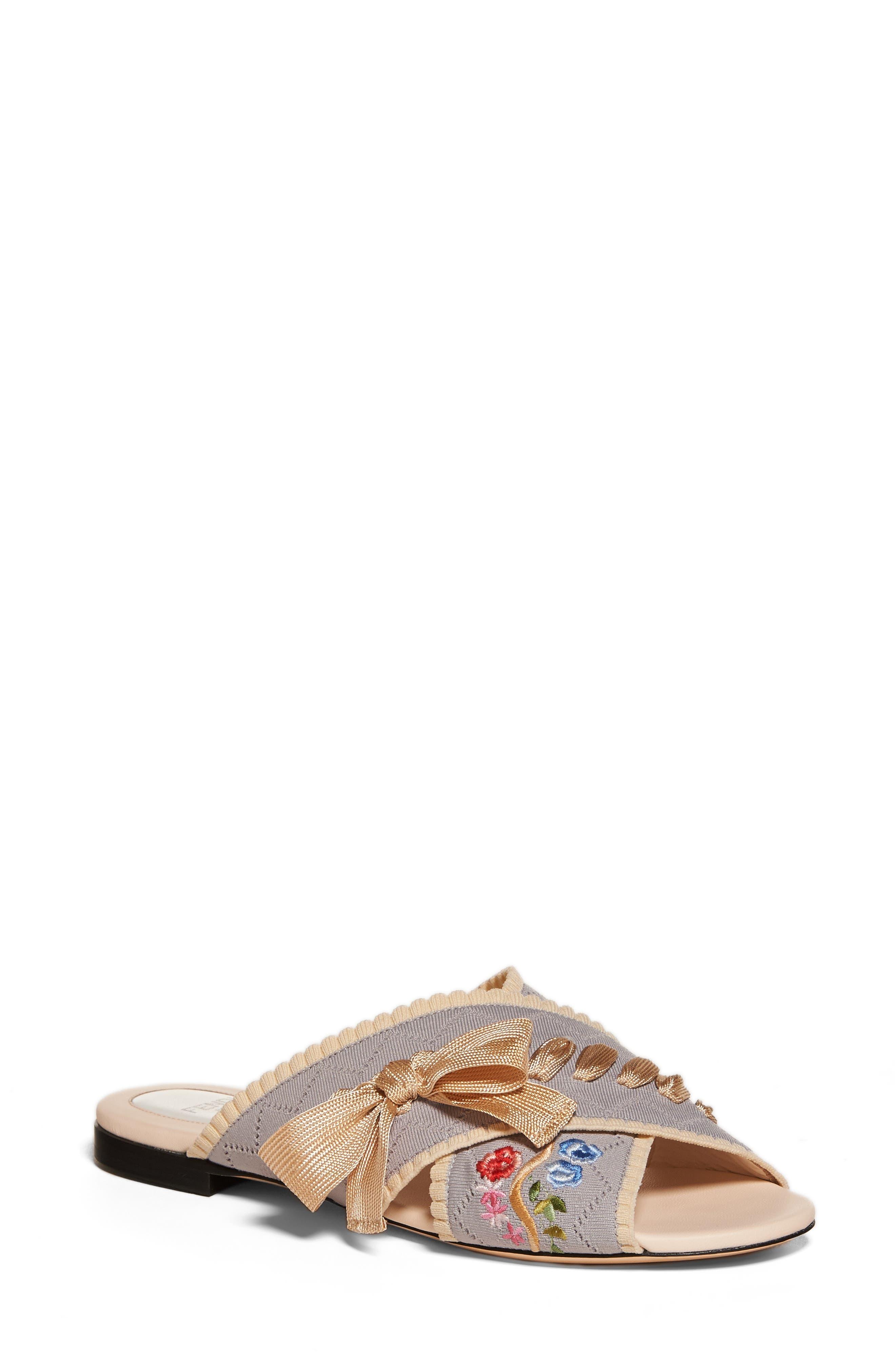 FENDI Embroidered Sandal