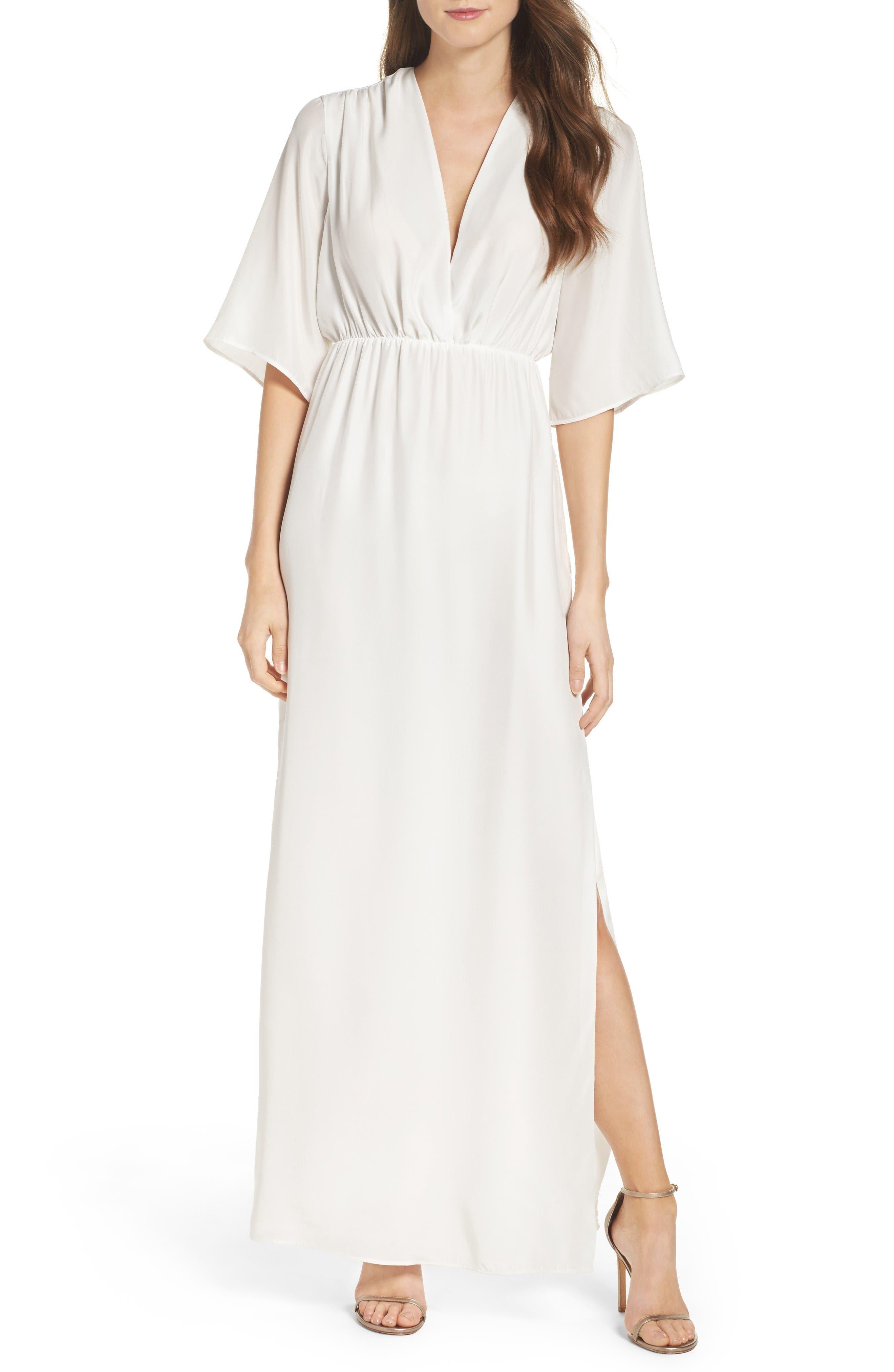 Natalie Deayala Collection Flutter Sleeve Silk Gown
