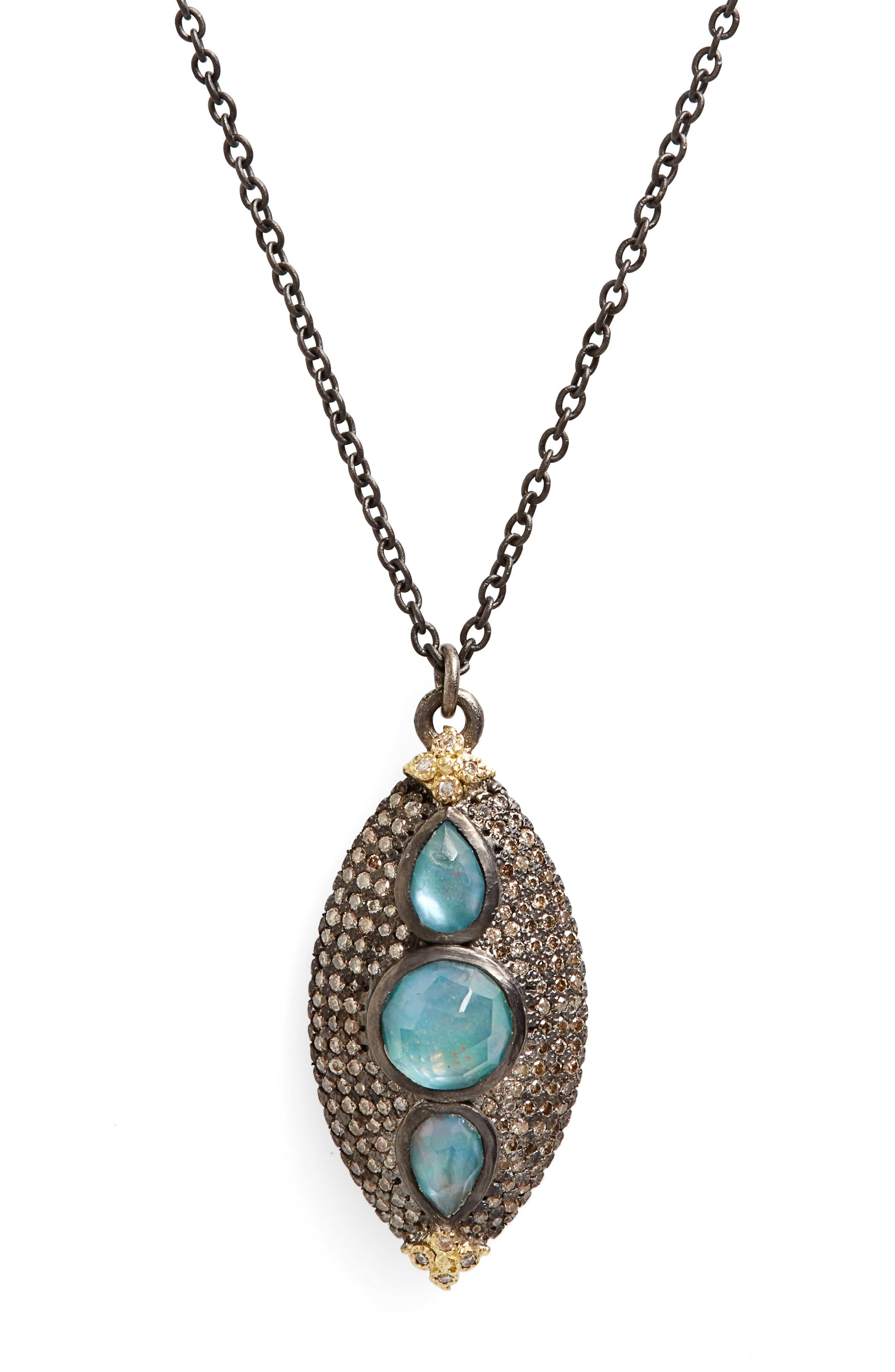 Armenta Old World Opal & Diamond Pendant Necklace