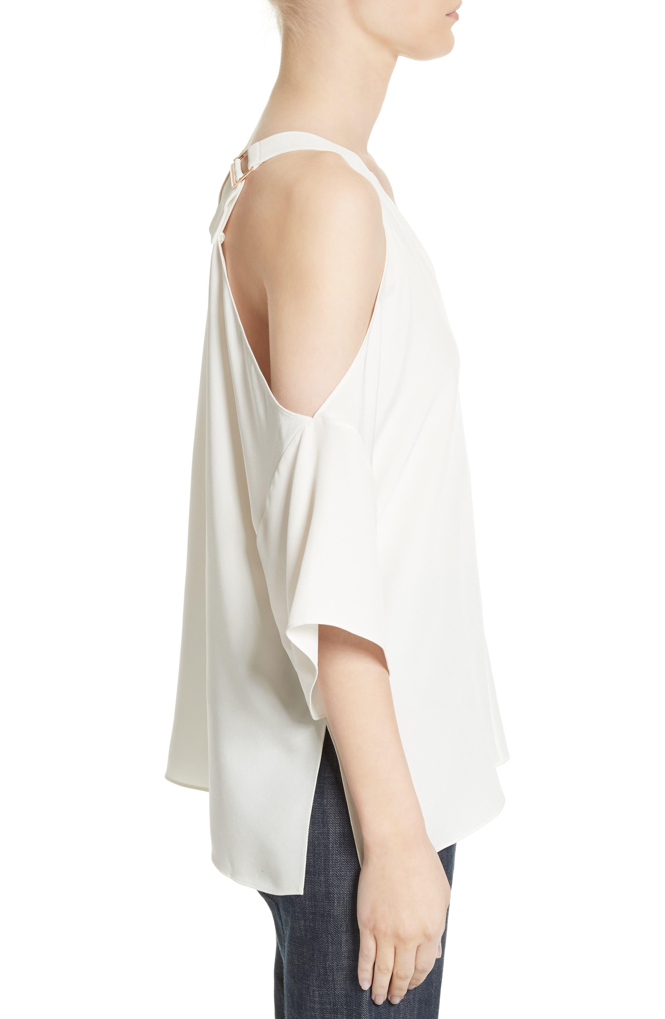 Alternate Image 3  - Tibi Cold Shoulder Silk Blouse