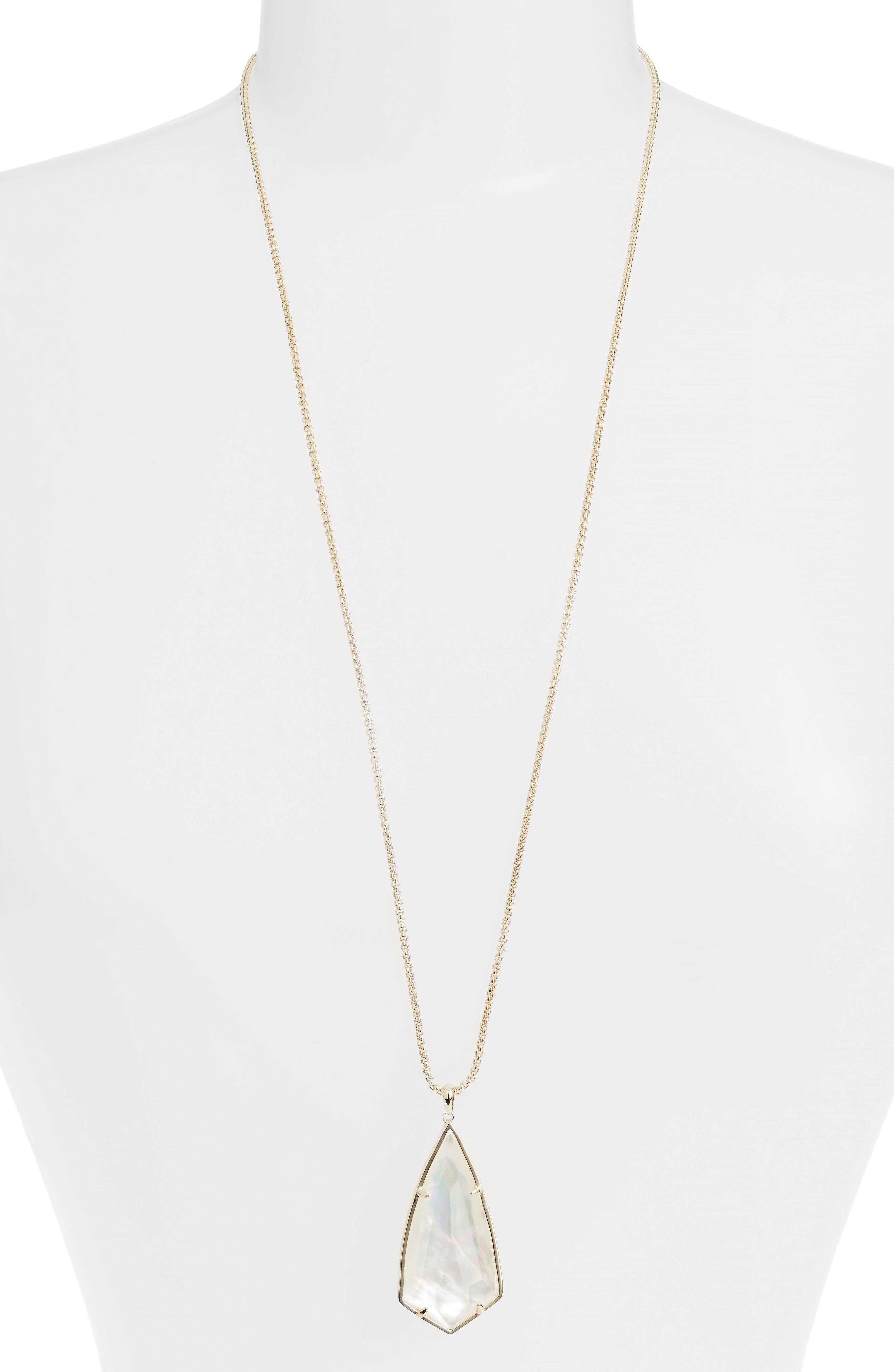 Kendra Scott 'Carole' Long Semiprecious Stone Pendant Necklace