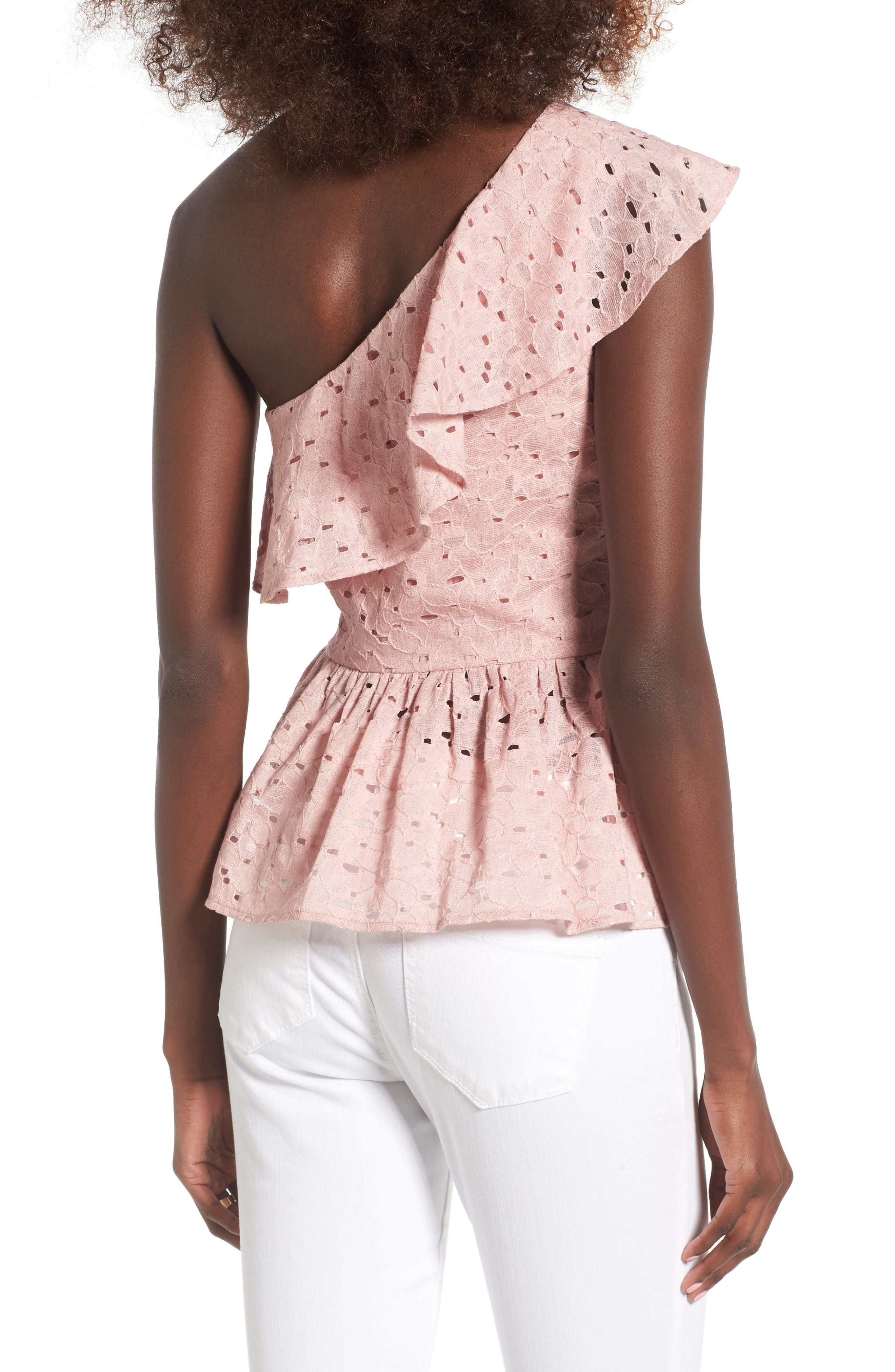 Alternate Image 2  - J.O.A. Lace One-Shoulder Peplum Top