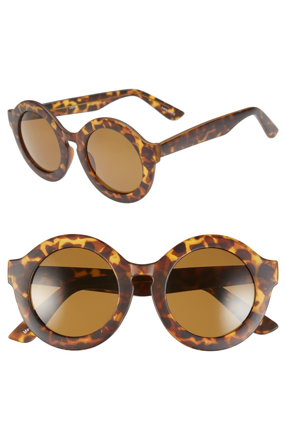 Main Image - Leith 'Penelope' Tortoise' Round Sunglasses