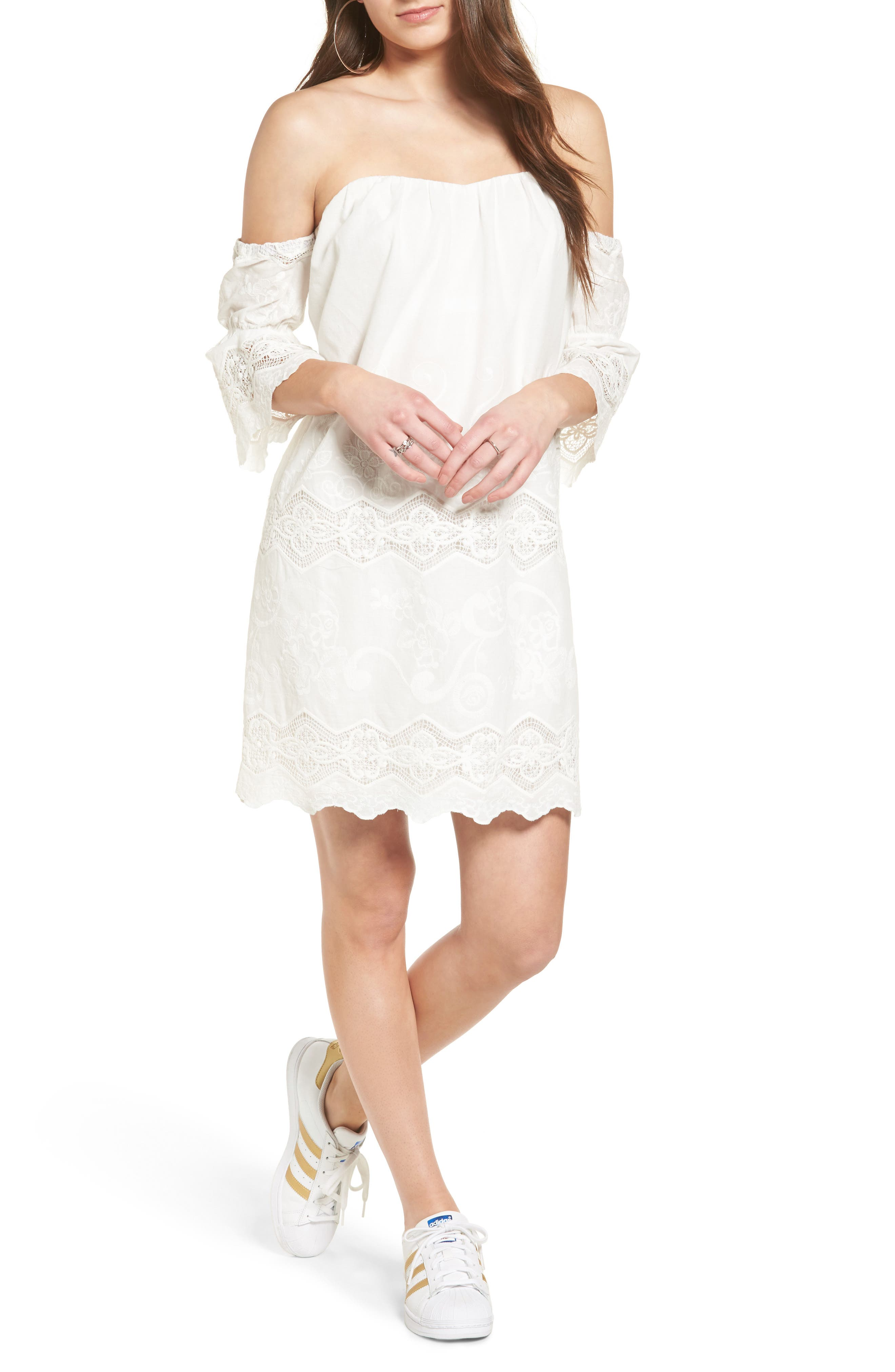 ASTR the Label Embroidered Off the Shoulder Shift Dress