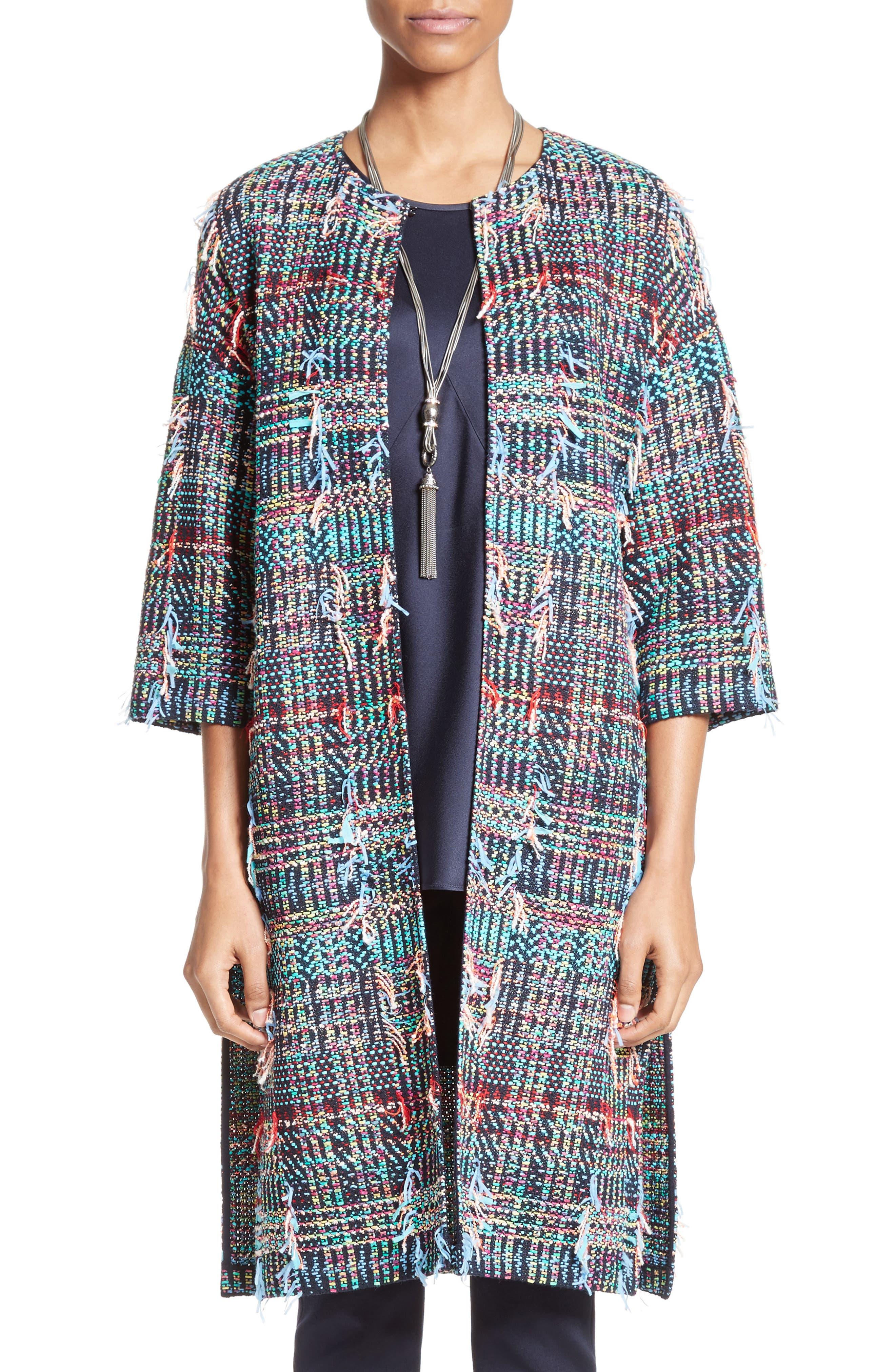St. John Collection Dara Fringe Knit Topper