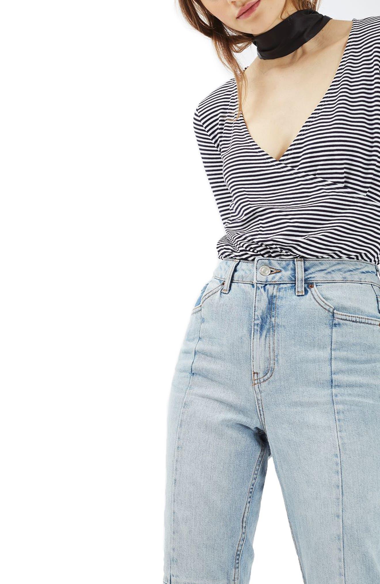 Alternate Image 1 Selected - Topshop Stripe Drape Bodysuit